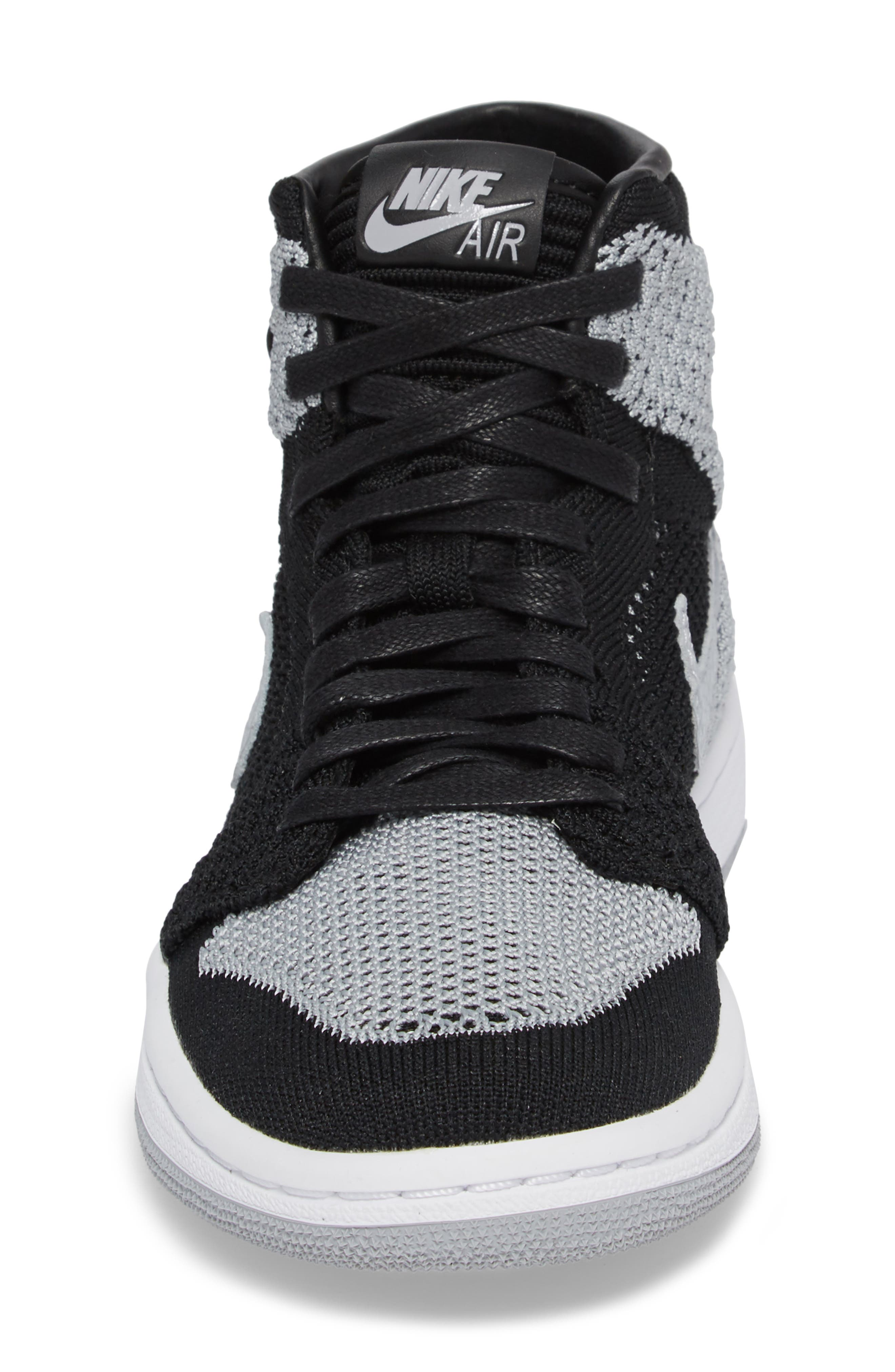 Nike Air Jordan 1 Retro High Flyknit Sneaker,                             Alternate thumbnail 4, color,                             Black/ Wolf Grey/ White