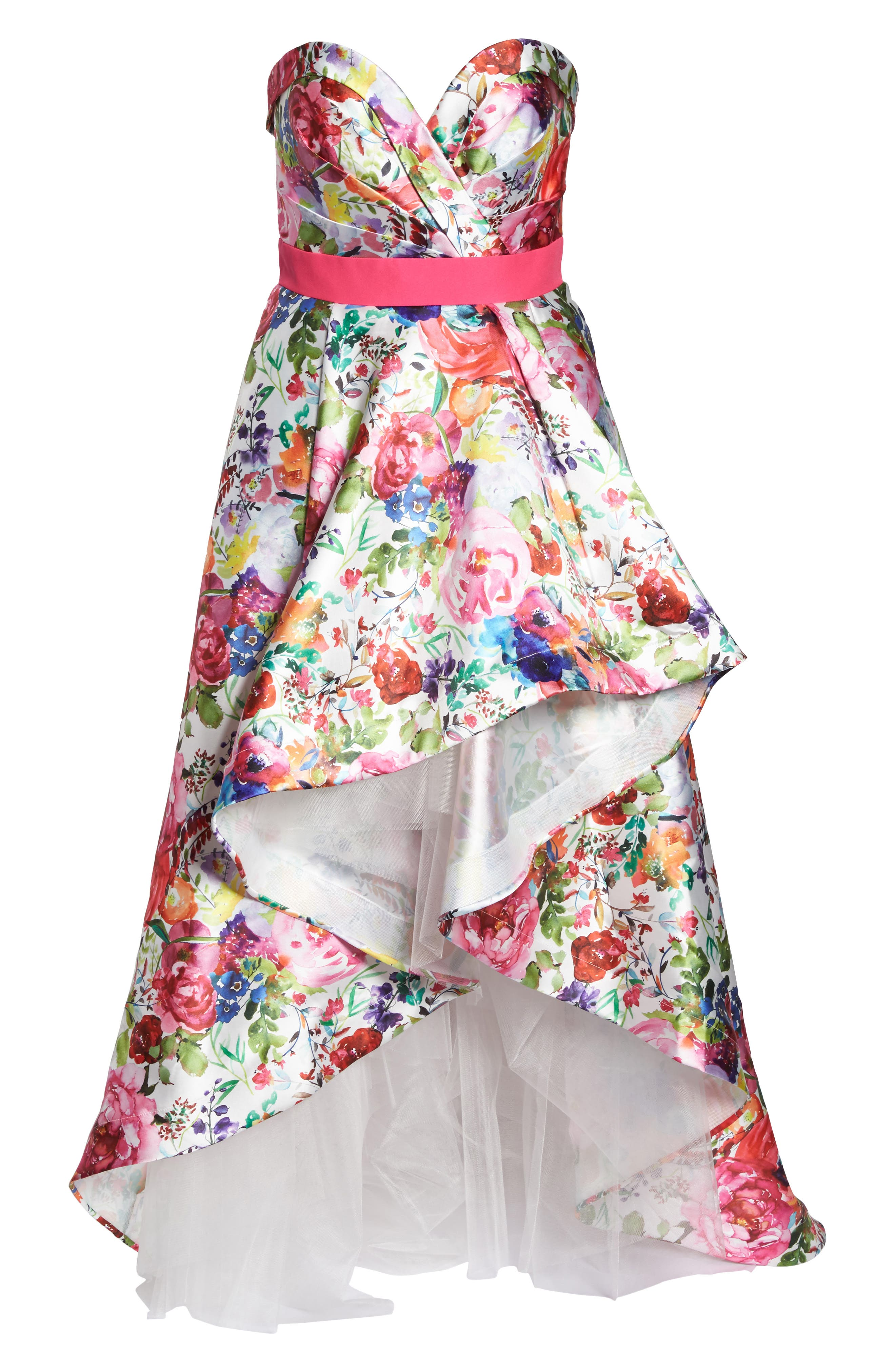 Floral Strapless Sweetheart High/Low Gown,                             Alternate thumbnail 6, color,                             Ivory Multi