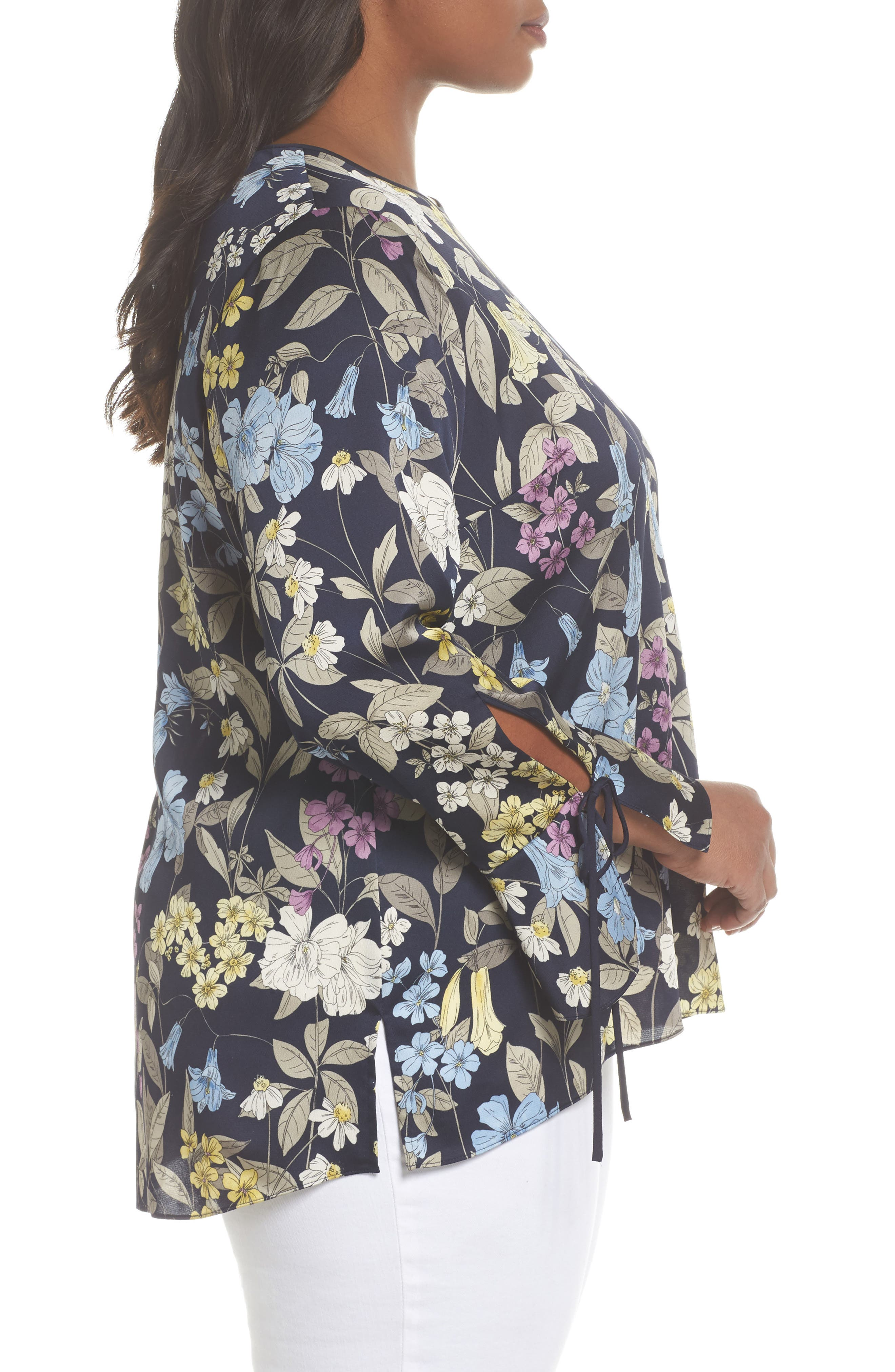 Country Floral Bell Sleeve Top,                             Alternate thumbnail 3, color,                             Night Sky