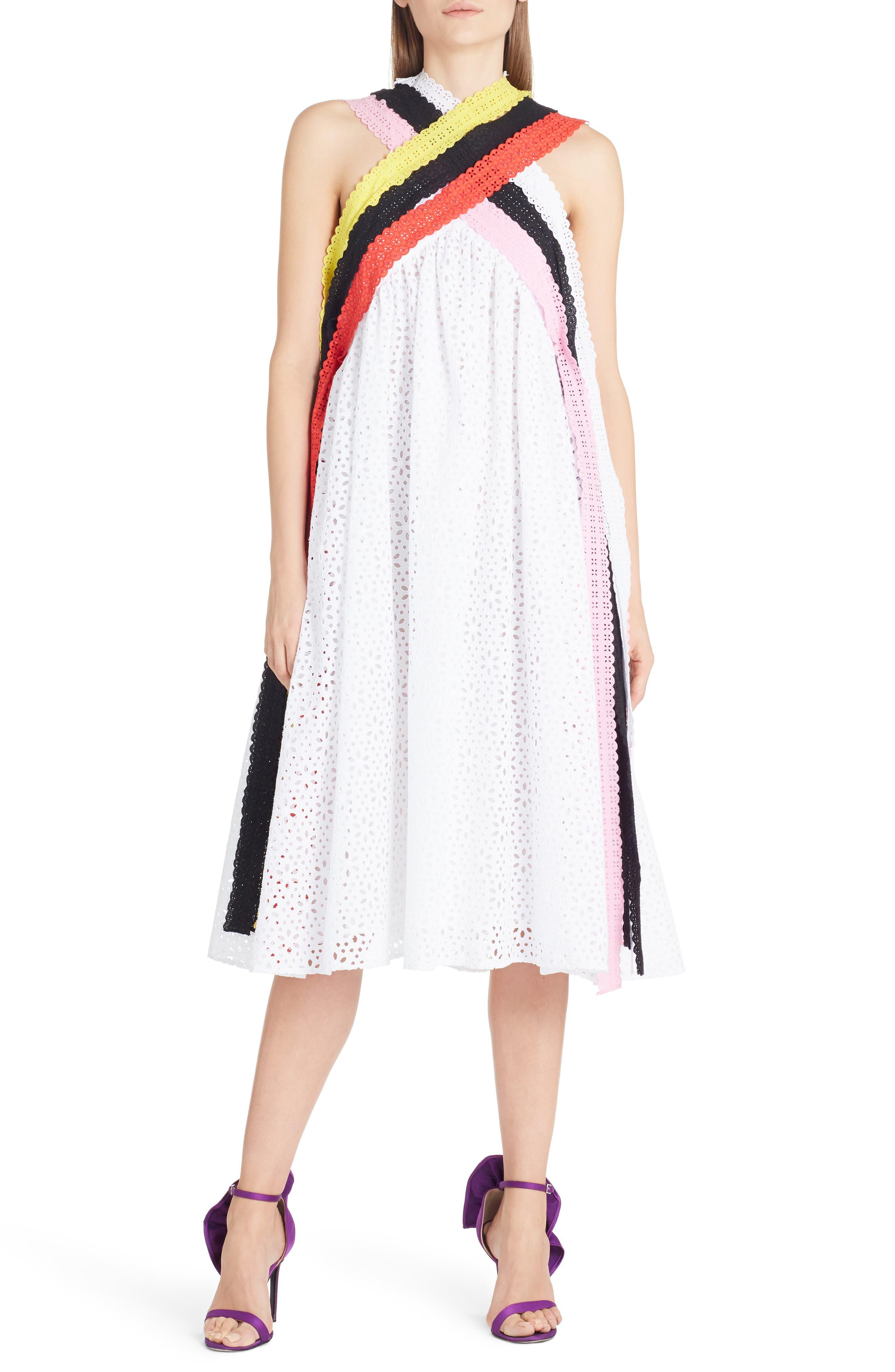 Multicolor Eyelet Midi Dress,                         Main,                         color, White