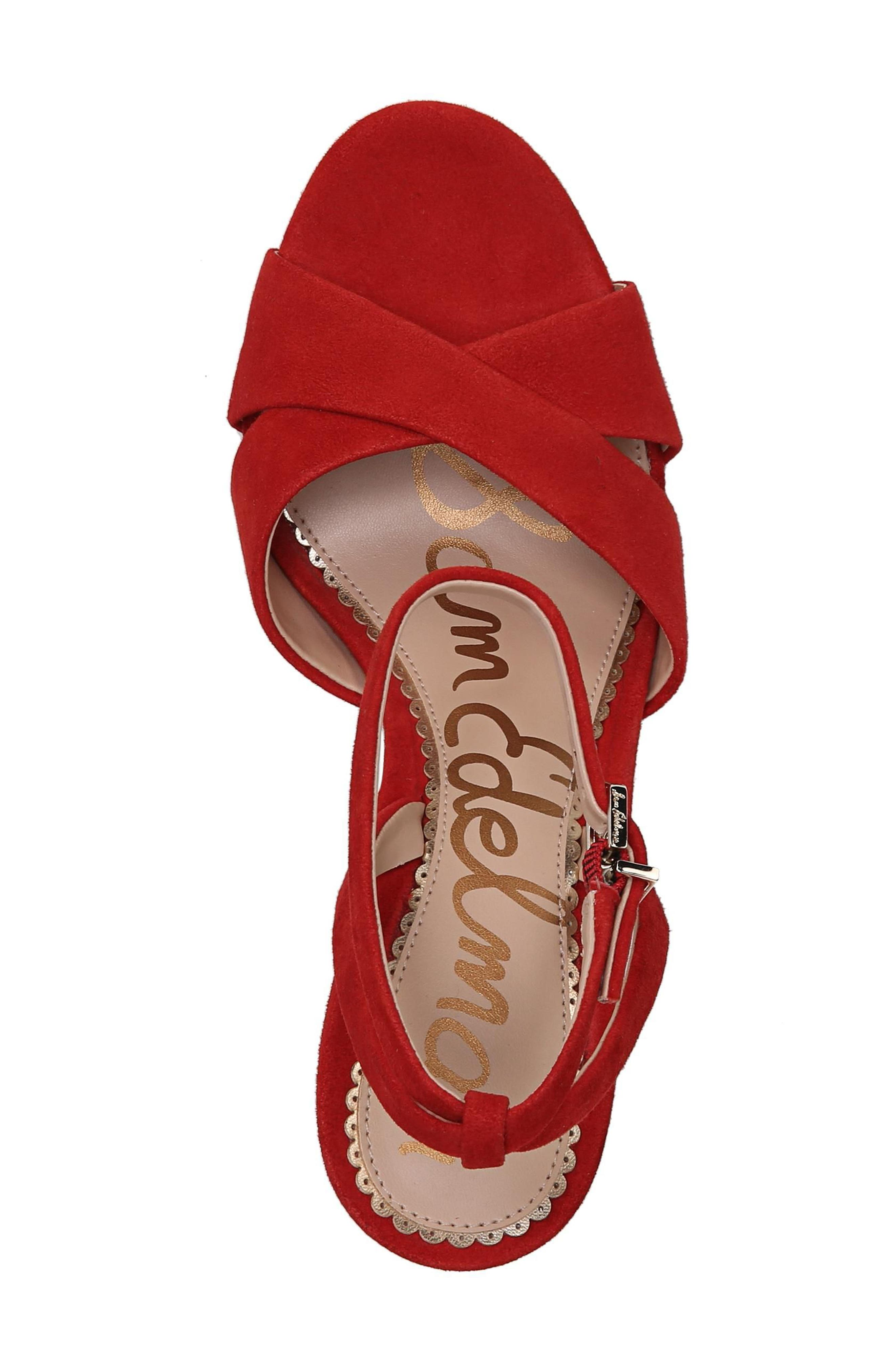 Aly Ankle Strap Sandal,                             Alternate thumbnail 5, color,                             Candy Red Leather