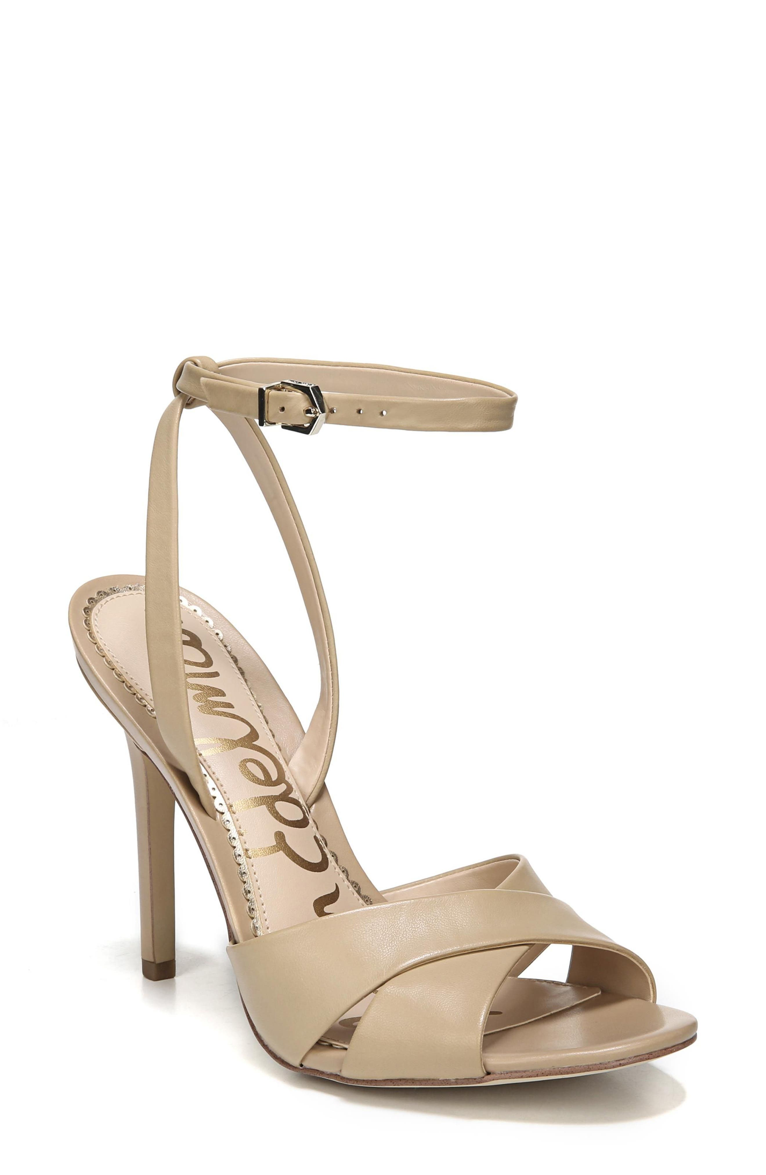 Aly Ankle Strap Sandal,                             Main thumbnail 1, color,                             Classic Nude Leather