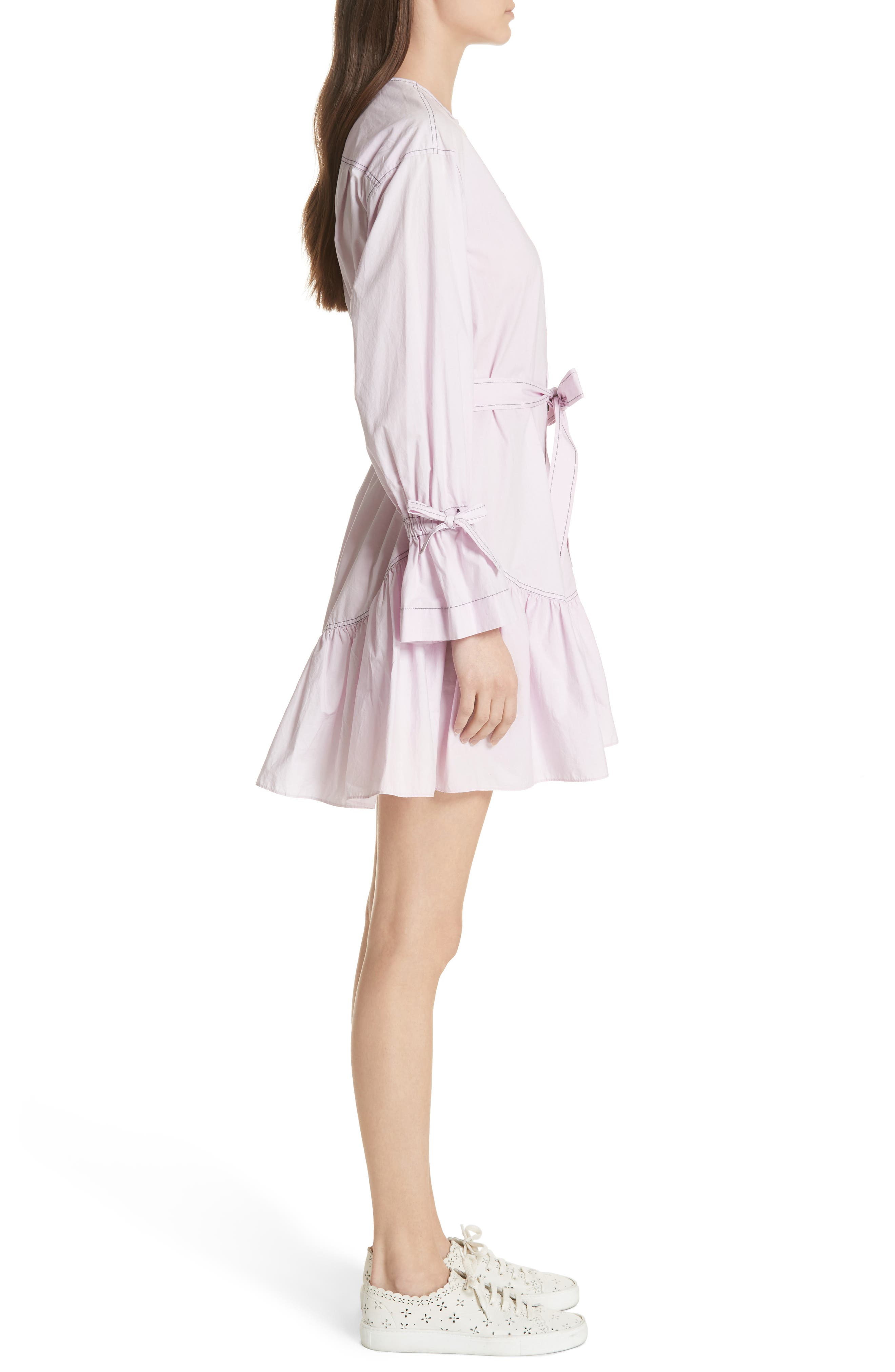 Ruffled Poplin Shirtdress,                             Alternate thumbnail 3, color,                             Lilac Dust