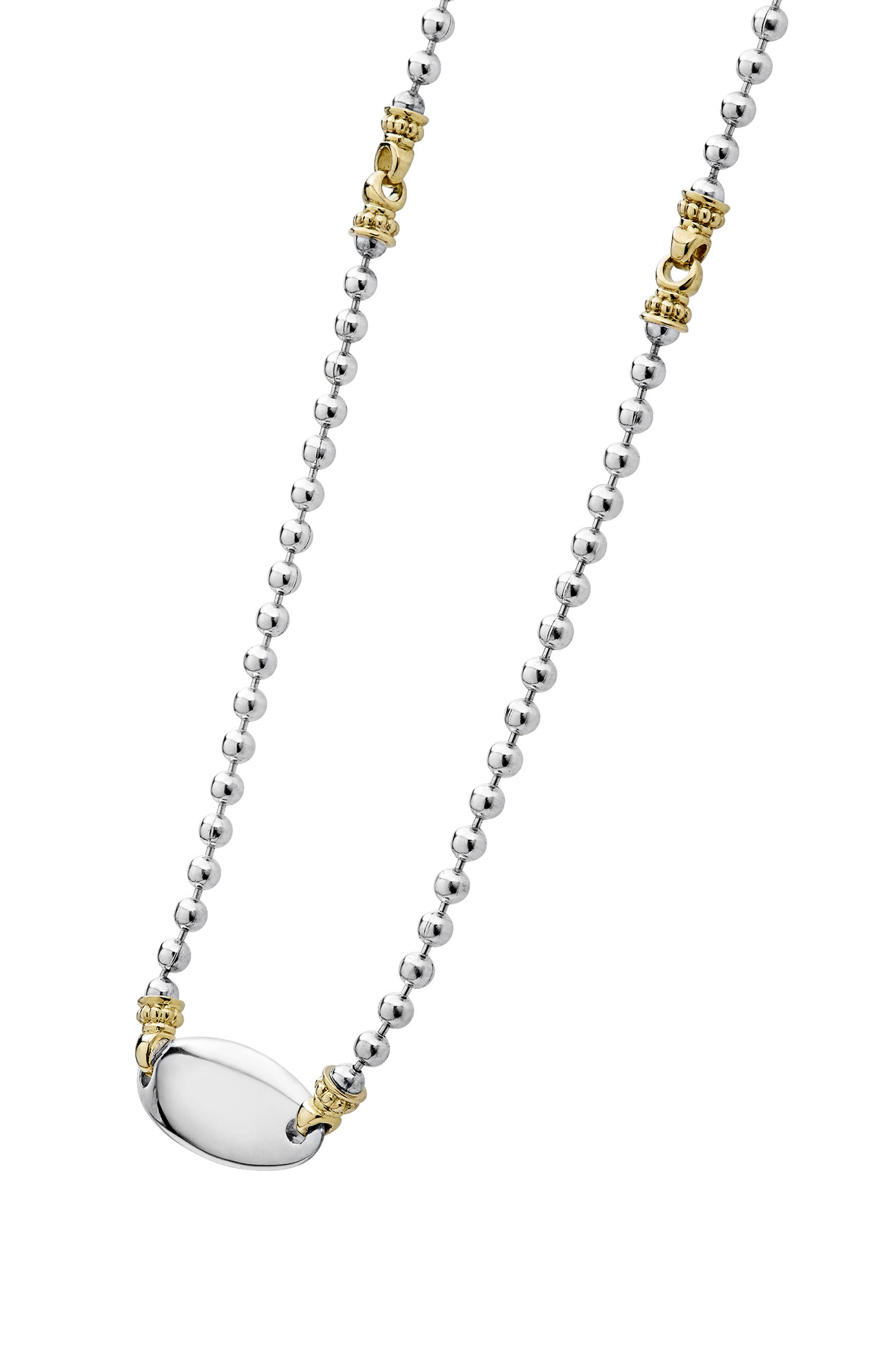Beloved Oval Plate Chain Necklace,                             Alternate thumbnail 4, color,                             Silver