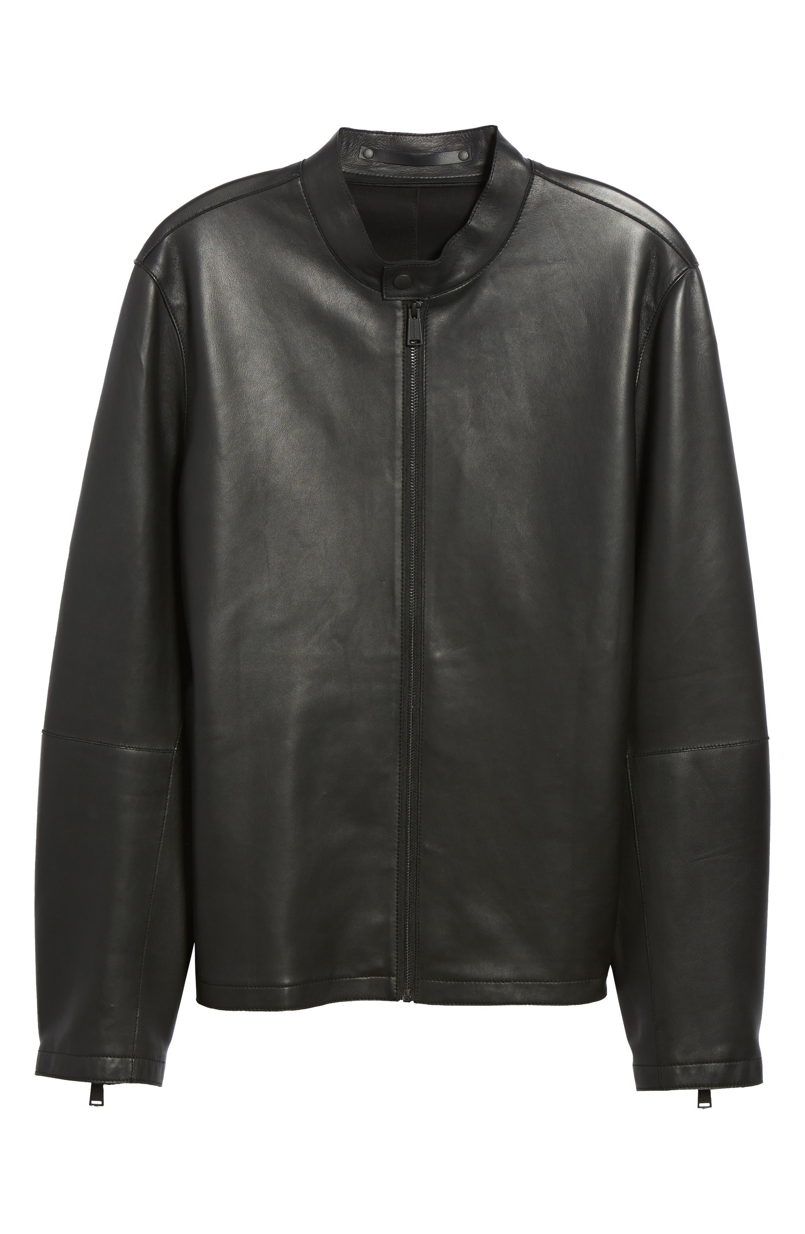 Bonded Leather Jacket,                             Alternate thumbnail 6, color,                             Black