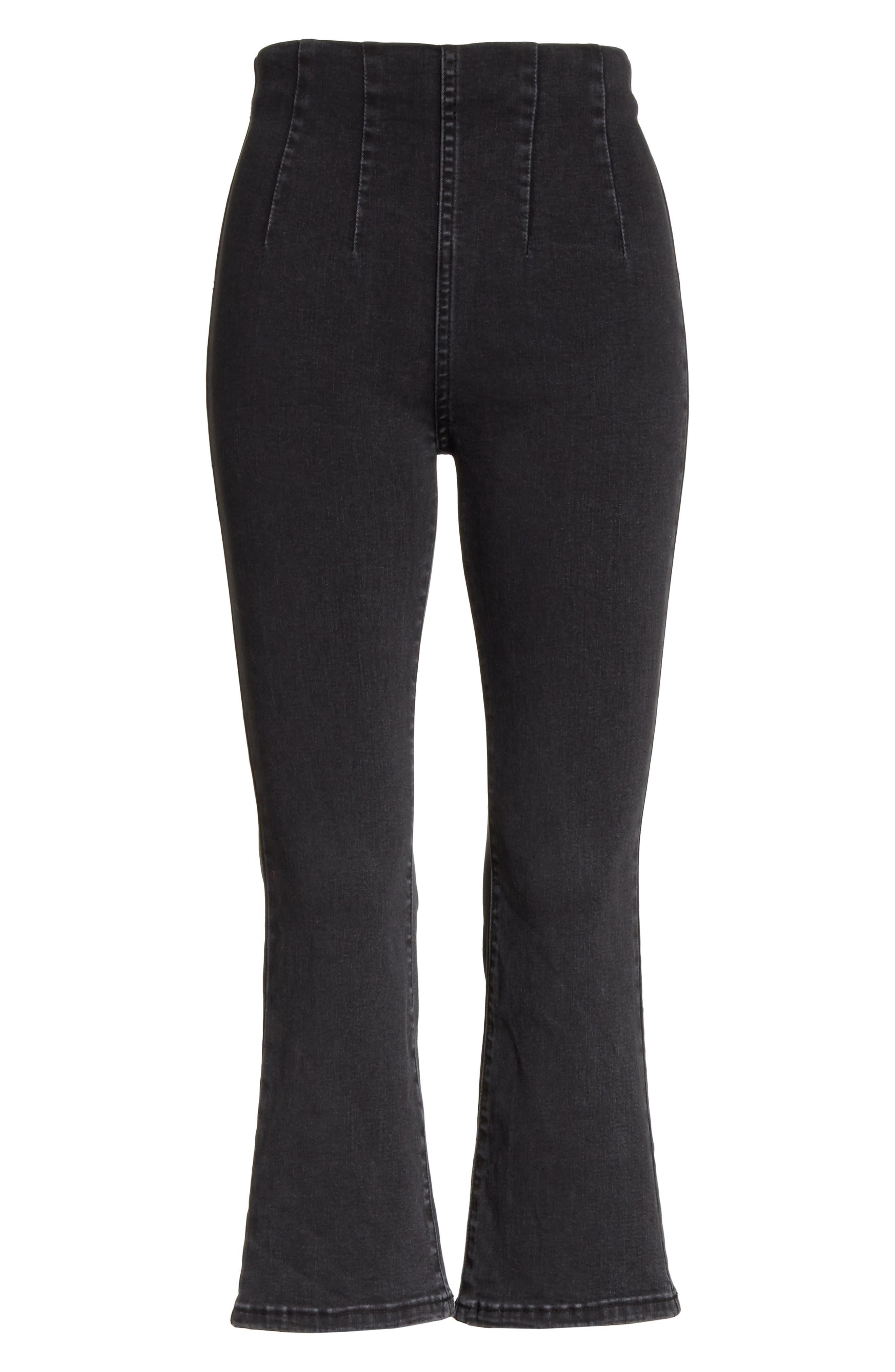 Ultra High Waist Crop Bootcut Jeans,                             Alternate thumbnail 7, color,                             Black
