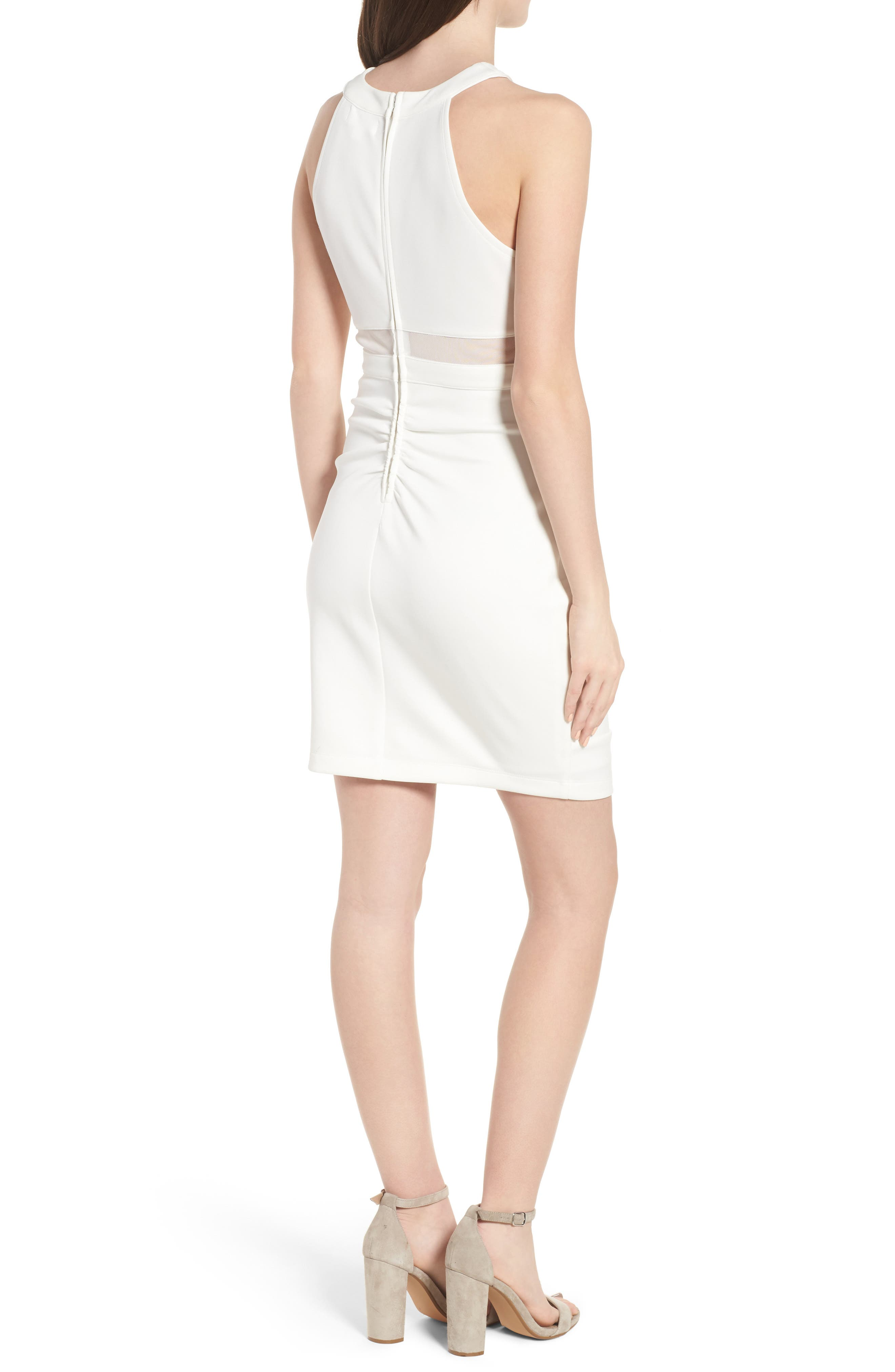 Strappy Neck Body-Con Dress,                             Alternate thumbnail 2, color,                             Ivory