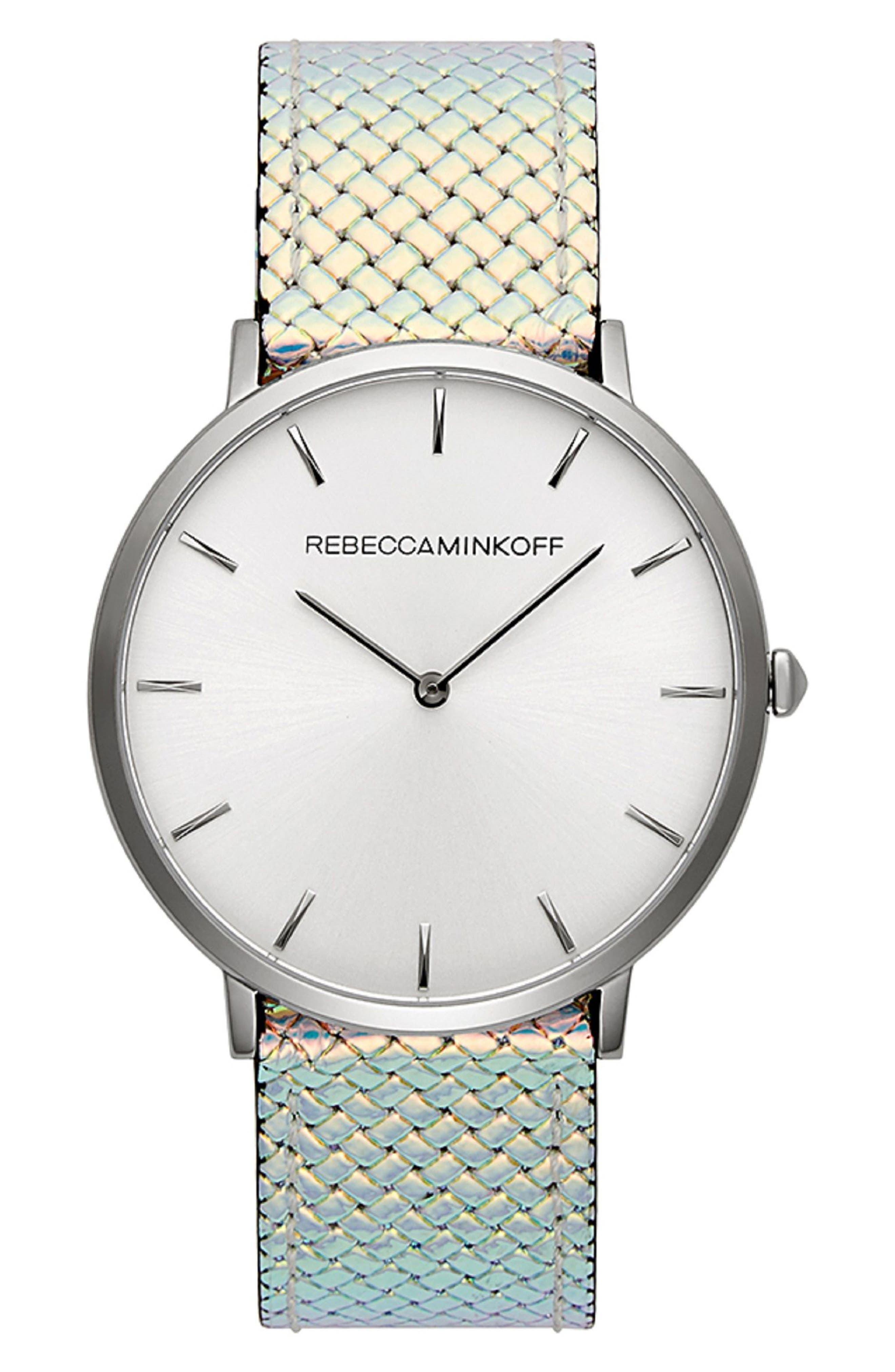 Major Leather Strap Watch, 40mm,                             Main thumbnail 1, color,                             Iridescent/ Silver