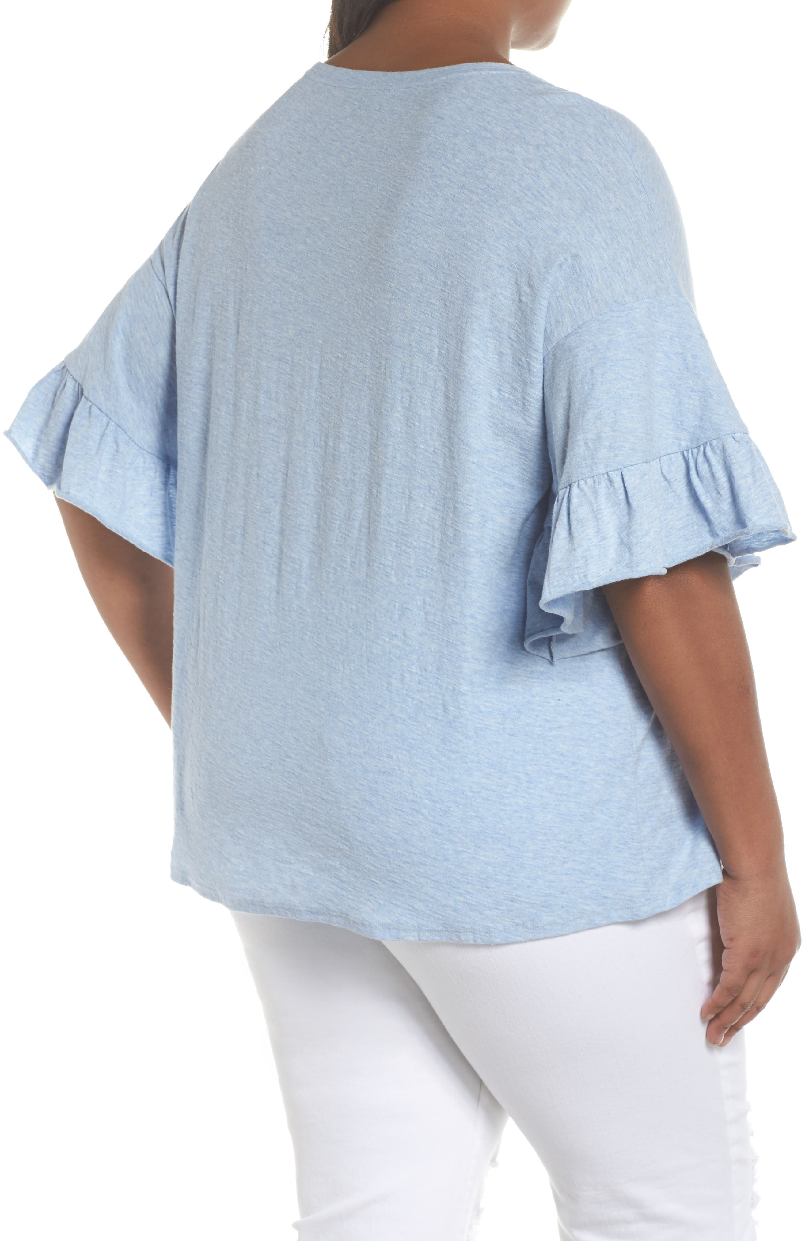 Drop Shoulder Tiered Ruffle Sleeve Top,                             Alternate thumbnail 2, color,                             Lt Chambray Heather
