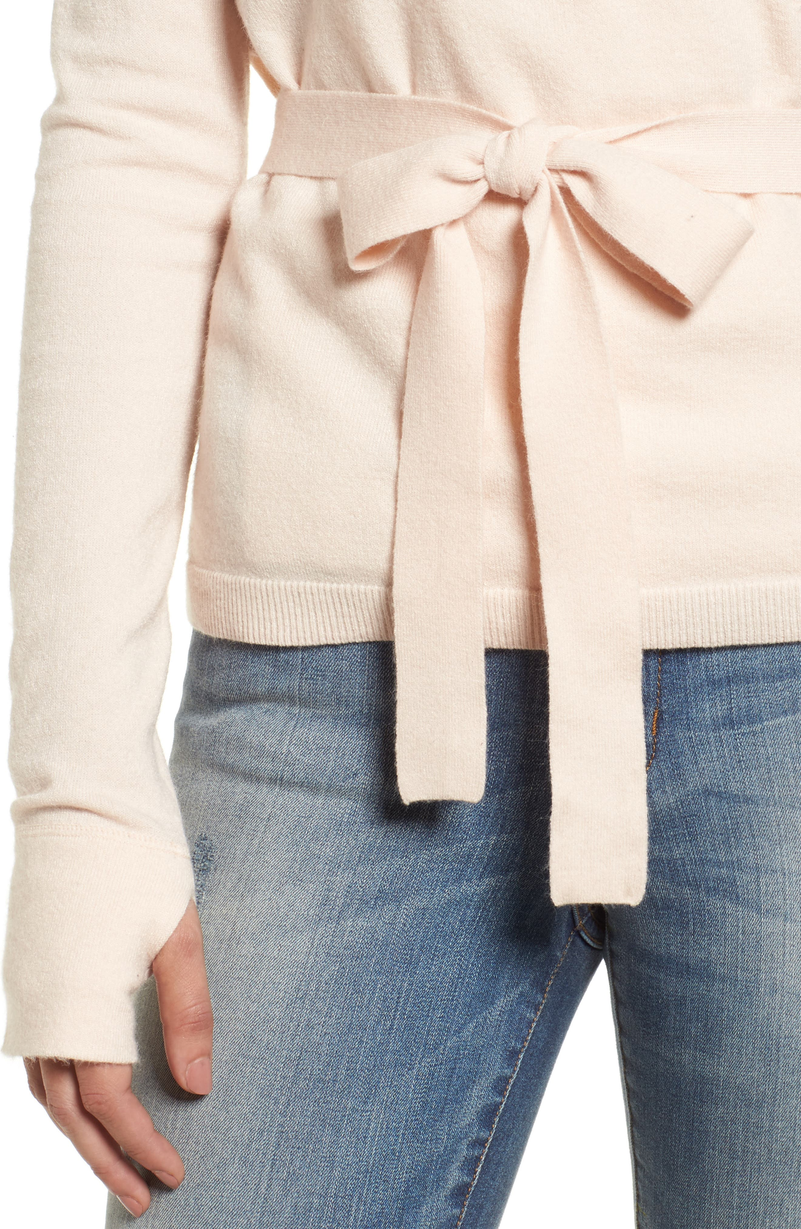 Off-Duty Ballet Tie Front Sweater,                             Alternate thumbnail 4, color,                             Pink Morganite