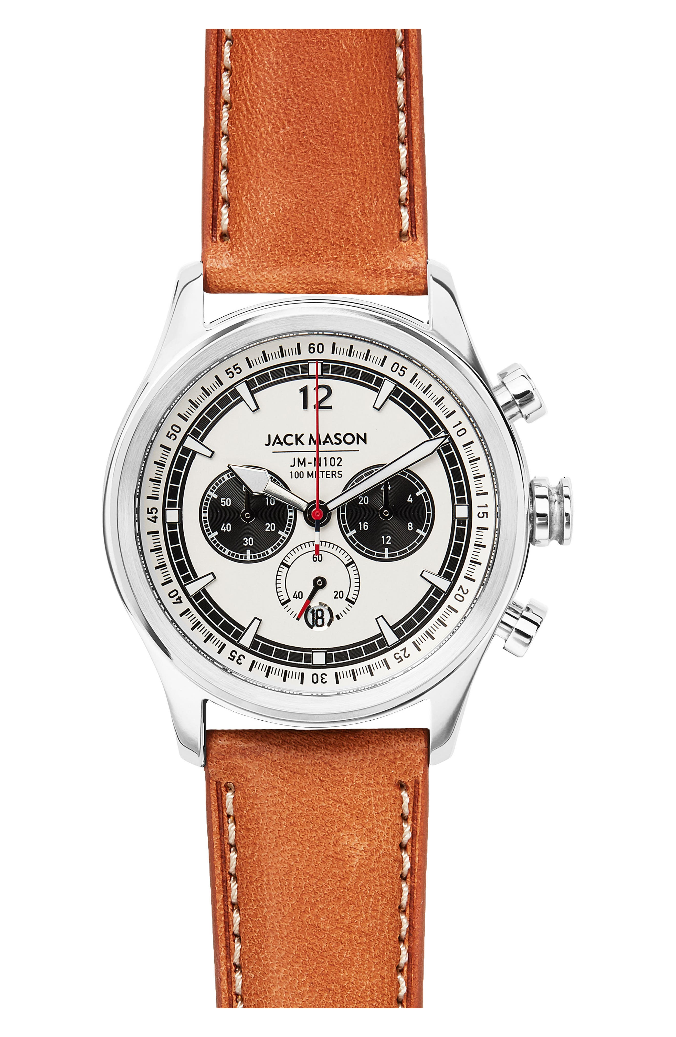 Nautical Leather Strap Chronograph Watch, 42mm,                             Main thumbnail 1, color,                             White/ Brown