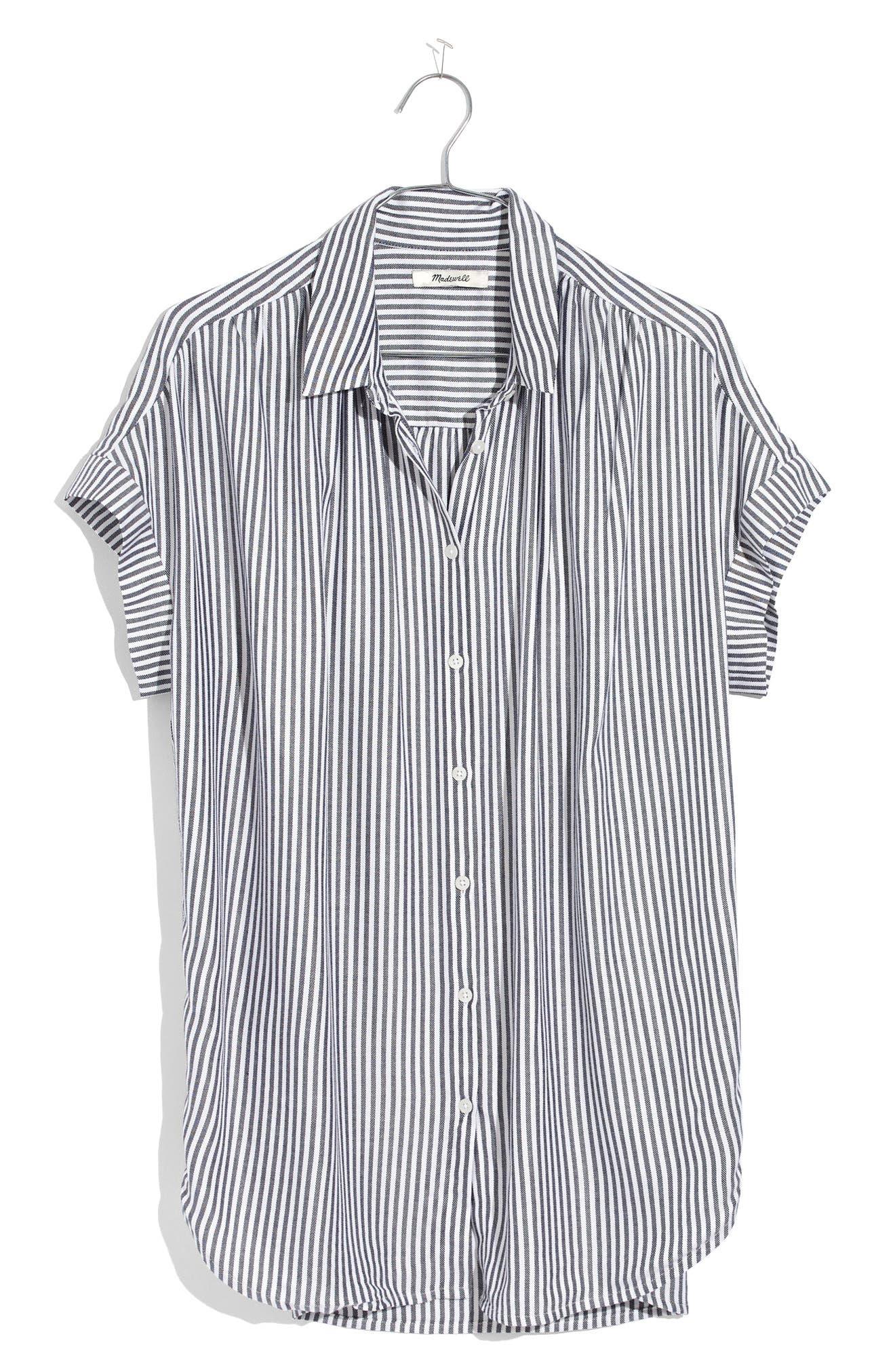 Central Stripe Shirt,                         Main,                         color, Navy/ Ivory Stripe