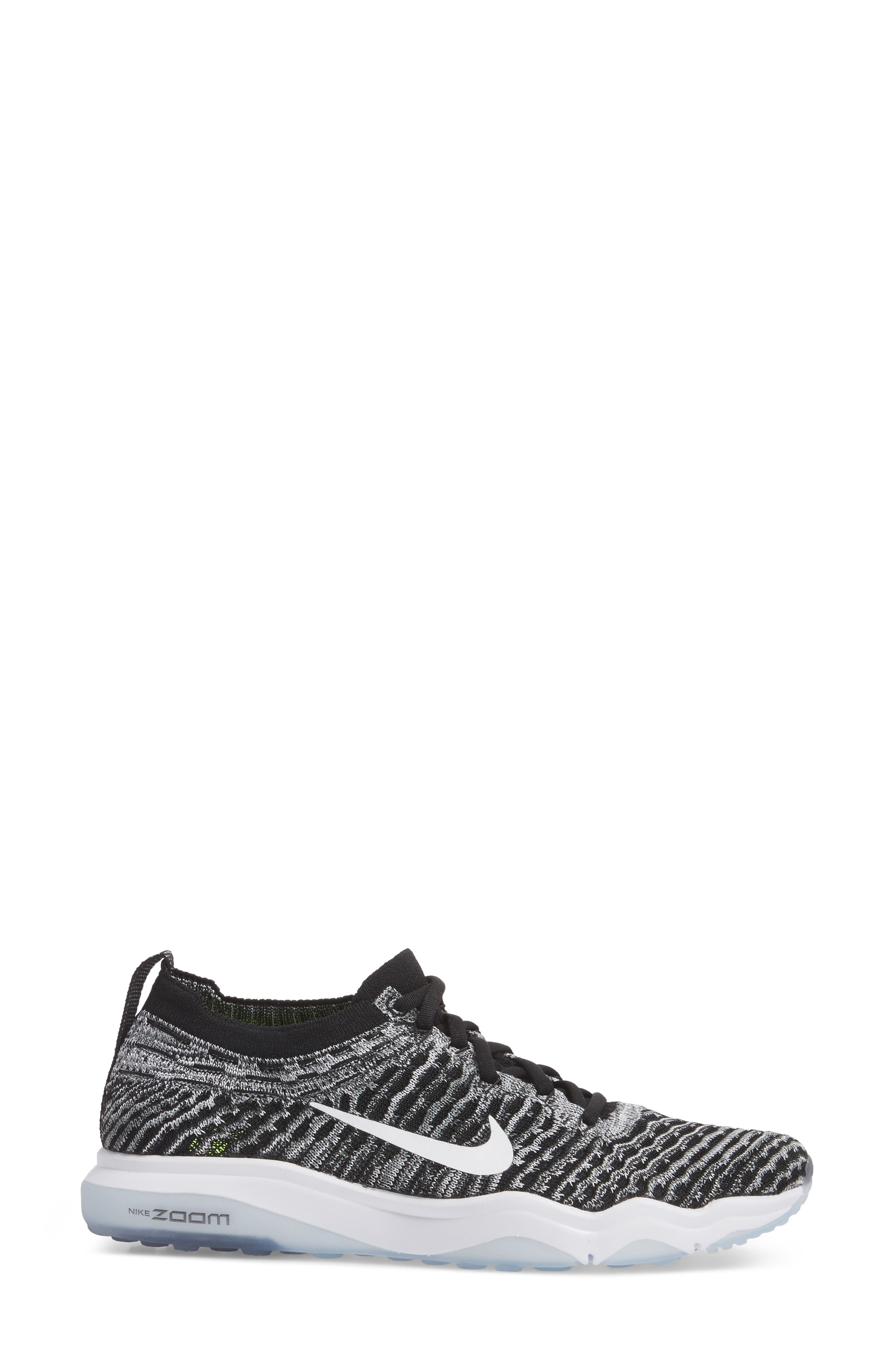 Air Zoom Fearless Flyknit Lux Training Shoe,                             Alternate thumbnail 3, color,                             Black/ White