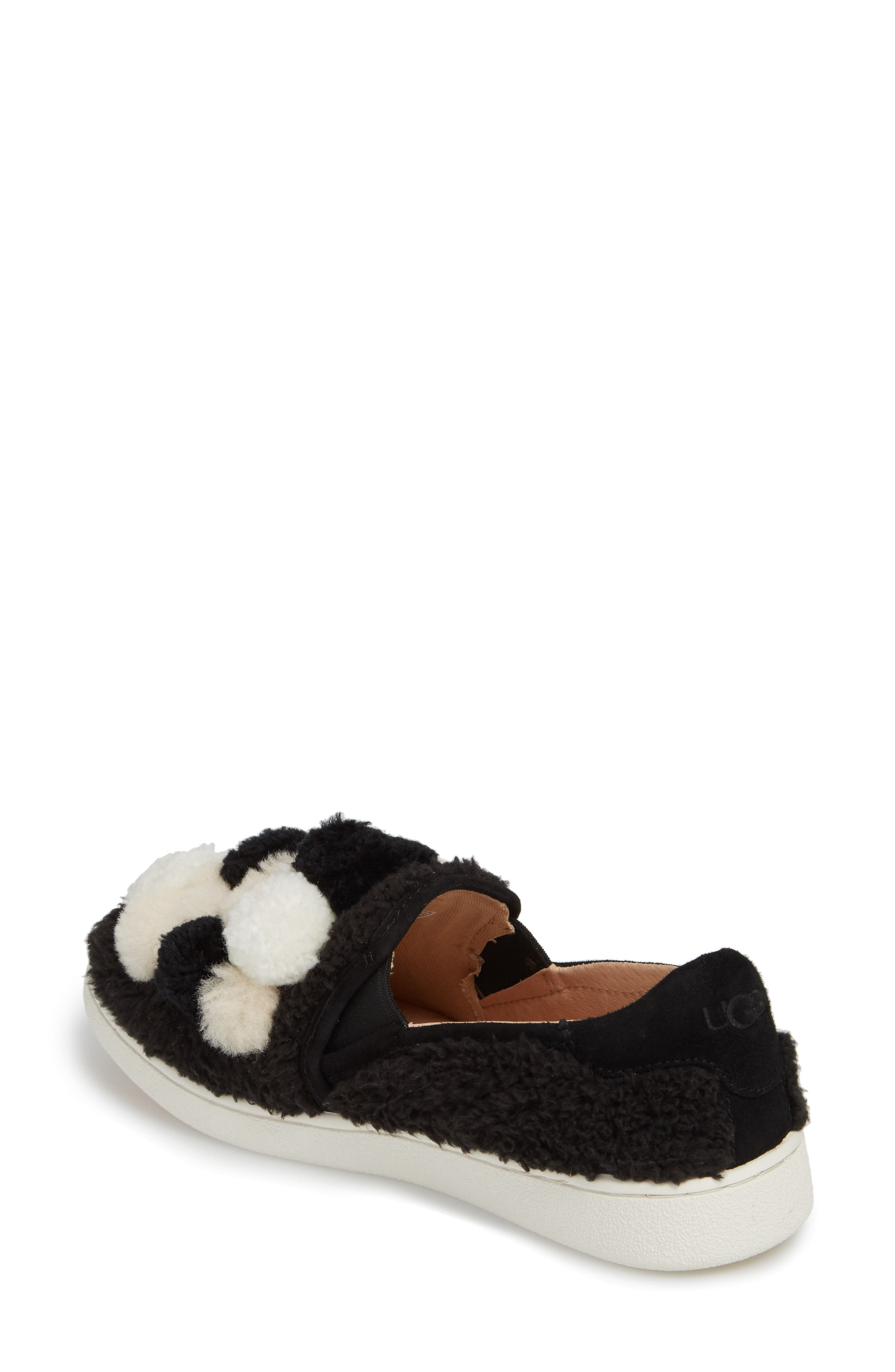 Ricci Plush Genuine Shearling Pompom Slip-On Sneaker,                             Alternate thumbnail 2, color,                             Black