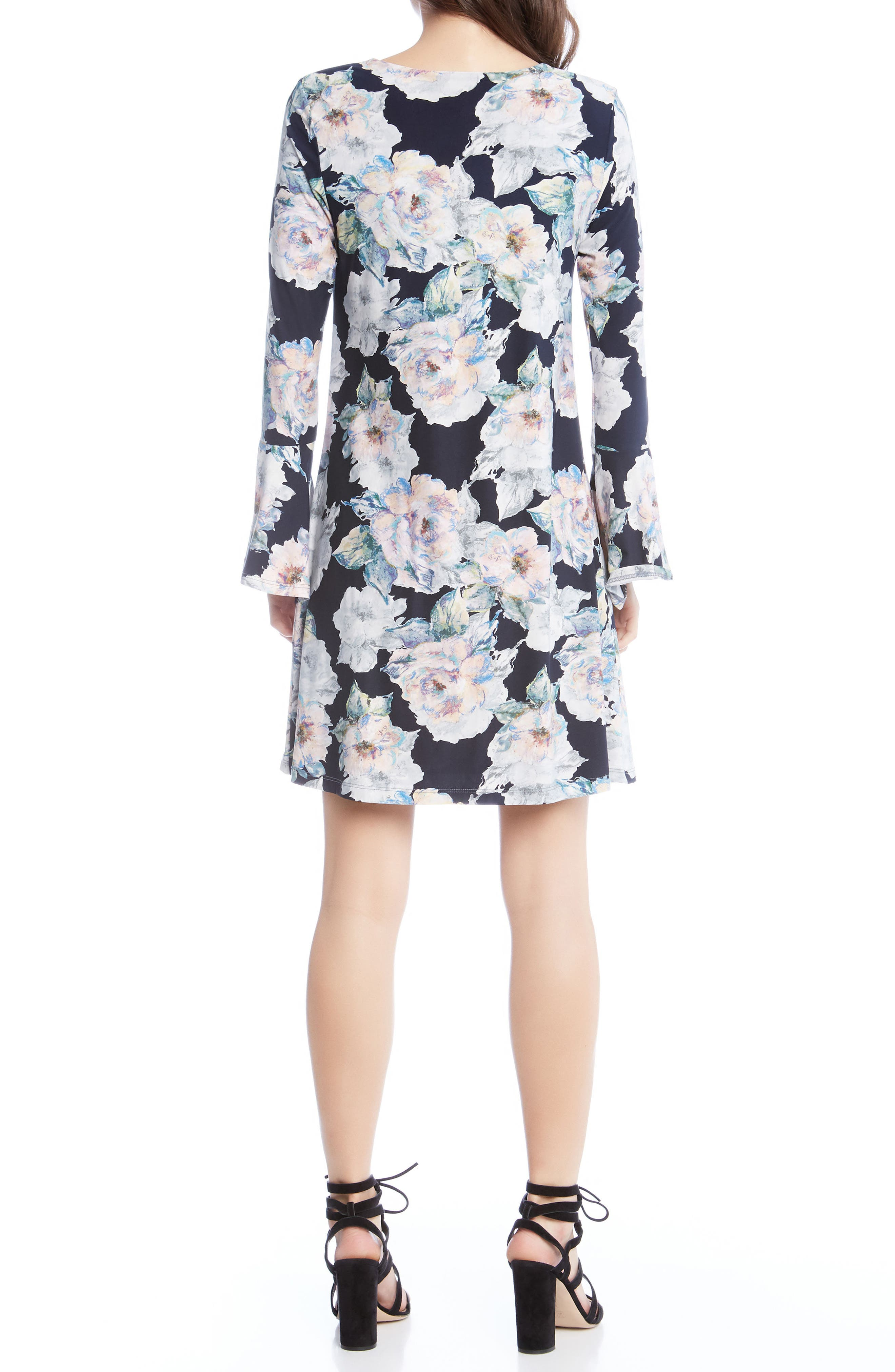 Taylor Bell Sleeve Dress,                             Alternate thumbnail 3, color,                             Floral
