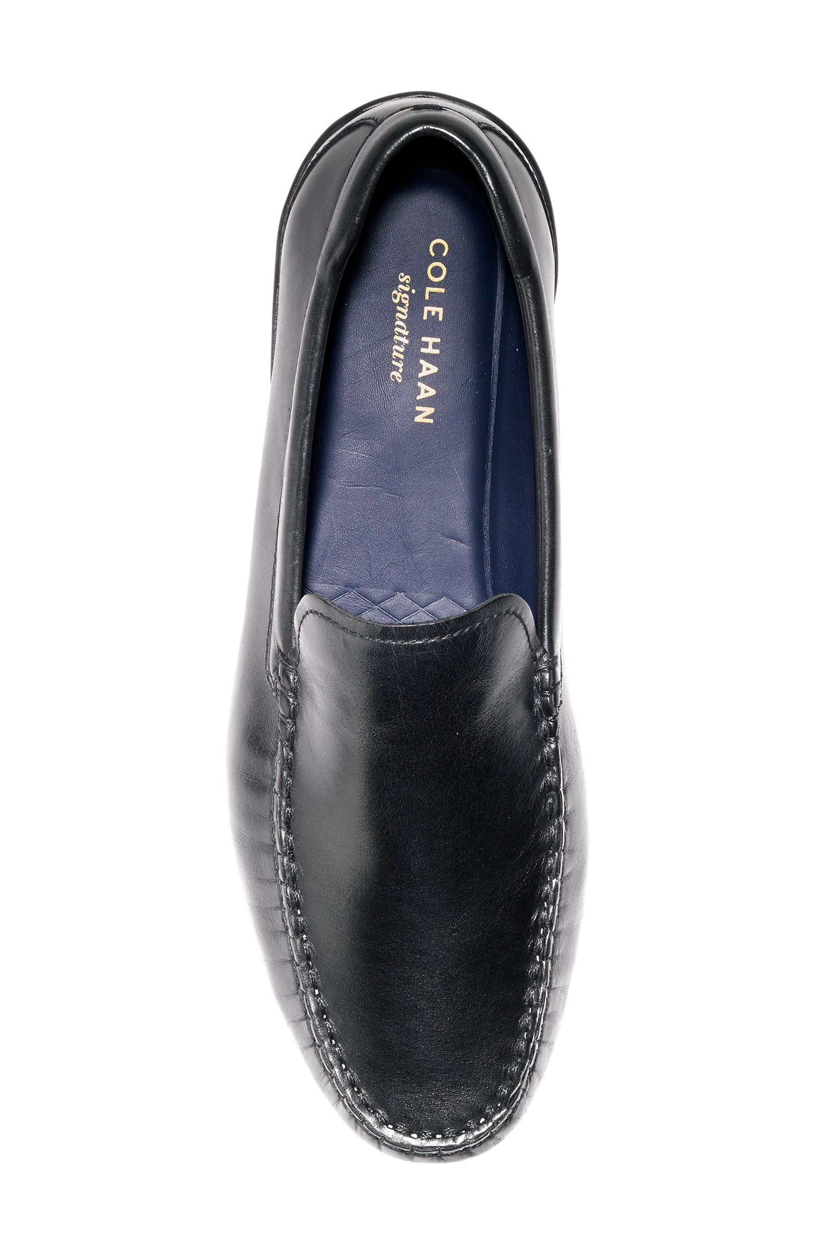 Branson Driving Shoe,                             Alternate thumbnail 5, color,                             Black Leather