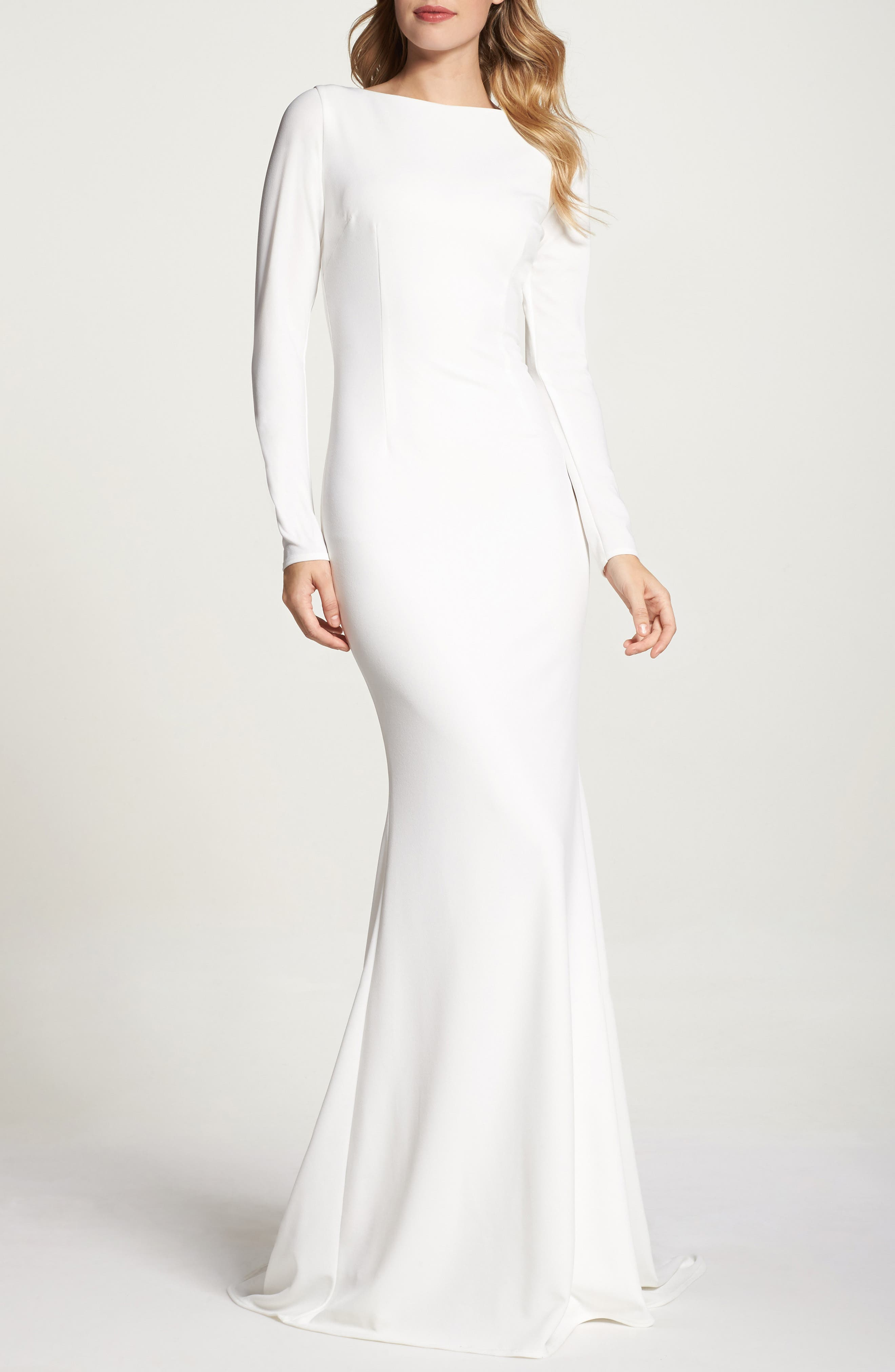 Cowl Back Crepe Gown,                             Alternate thumbnail 2, color,                             Ivory