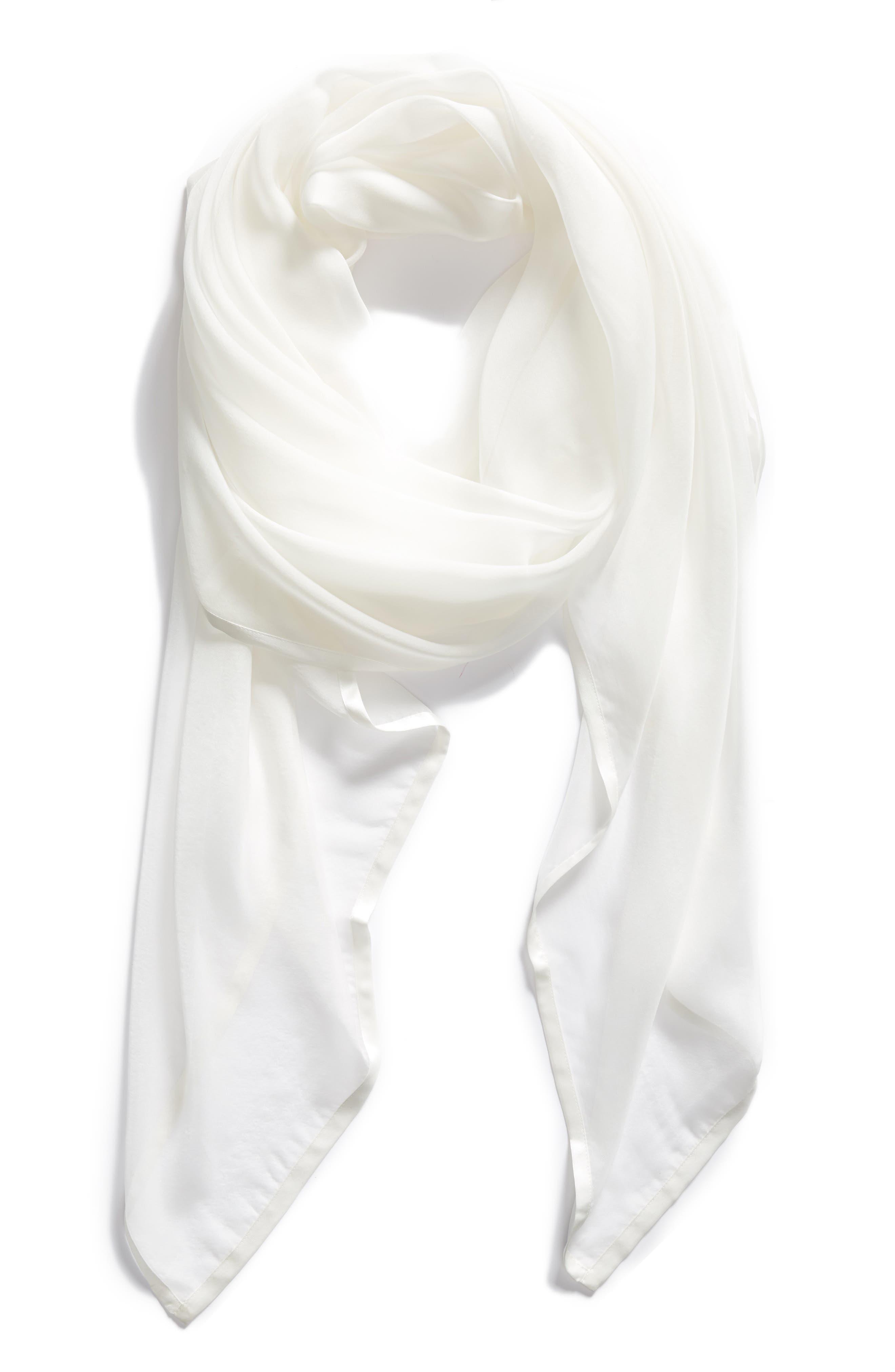 Alternate Image 2  - Nordstrom Satin Border Silk Chiffon Scarf
