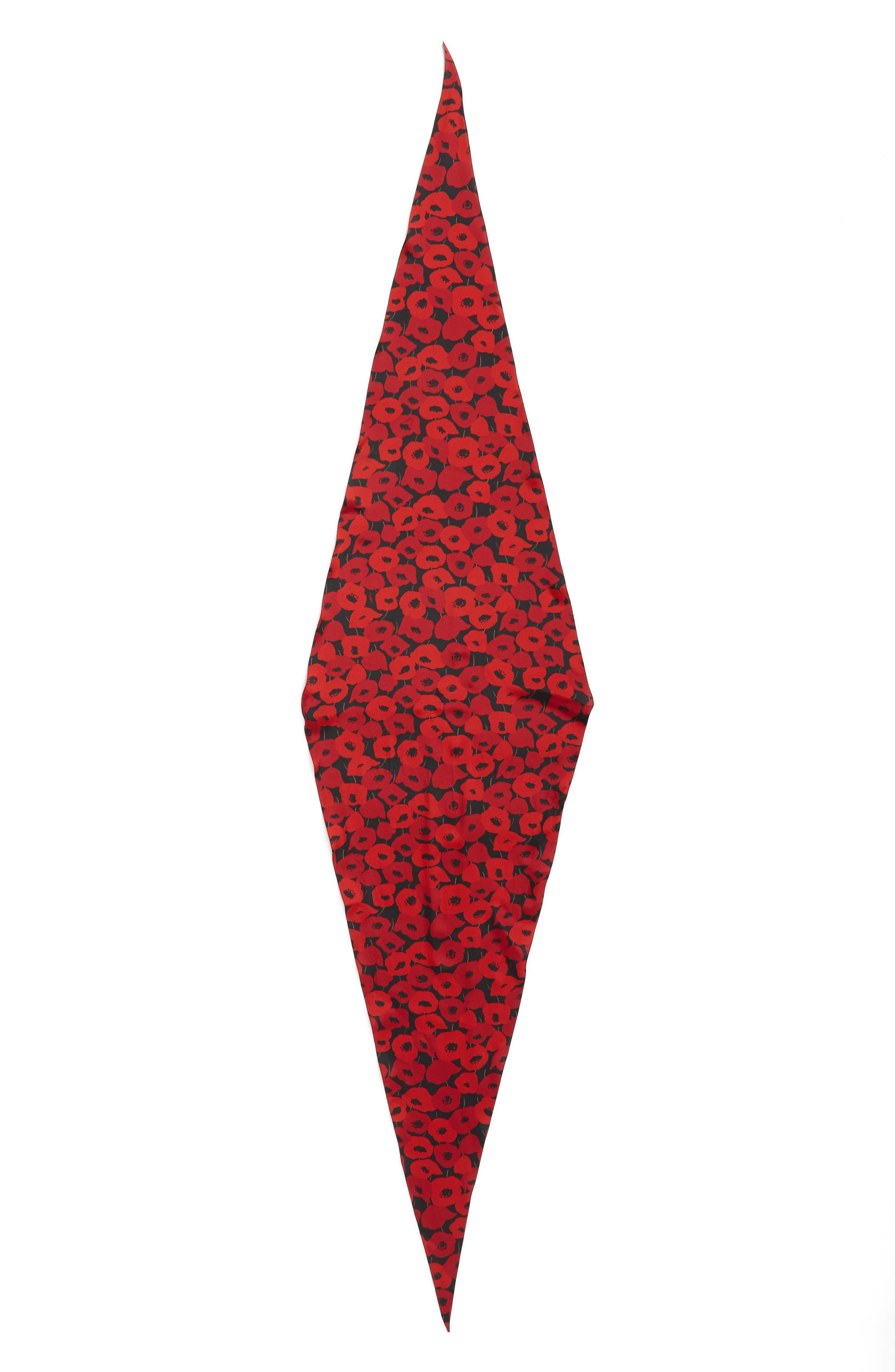Poppy Diamond Silk Scarf,                             Main thumbnail 1, color,                             Black/ Red