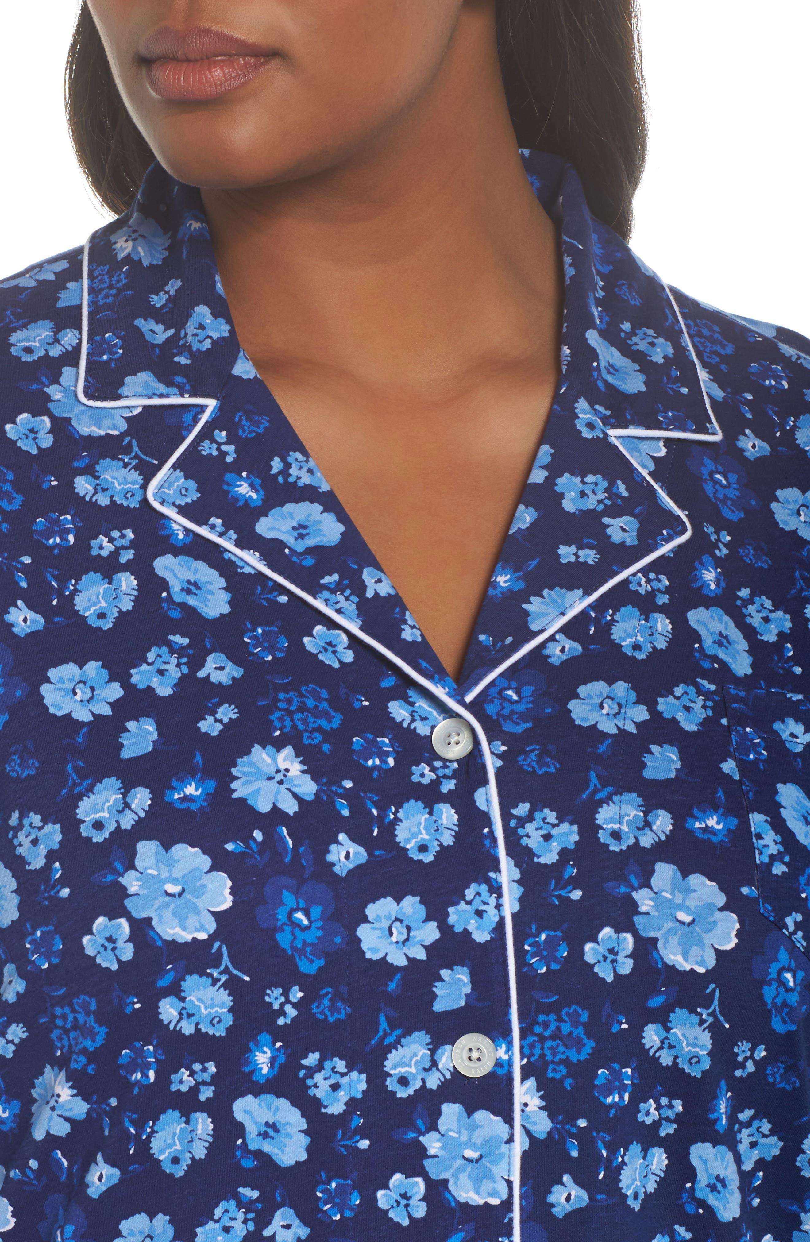 Crop Pajamas,                             Alternate thumbnail 5, color,                             Blue Floral