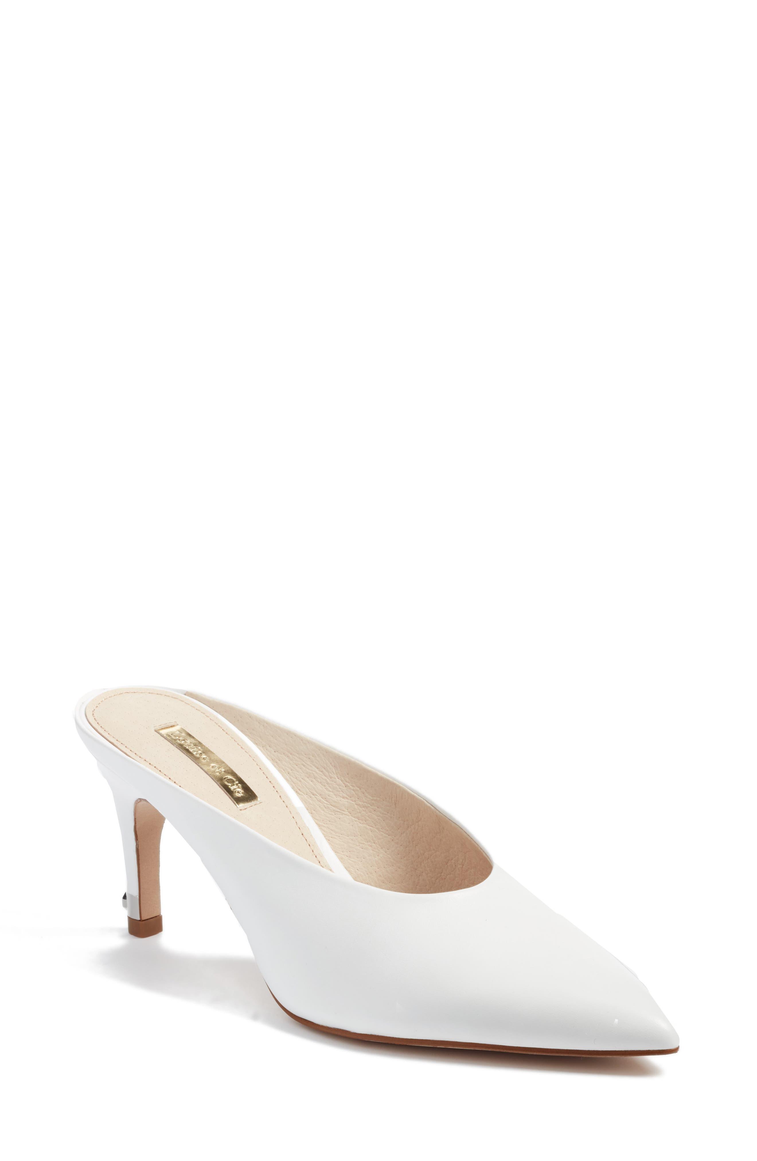 Karas Pointy Toe Slide Pump,                             Main thumbnail 1, color,                             White Leather