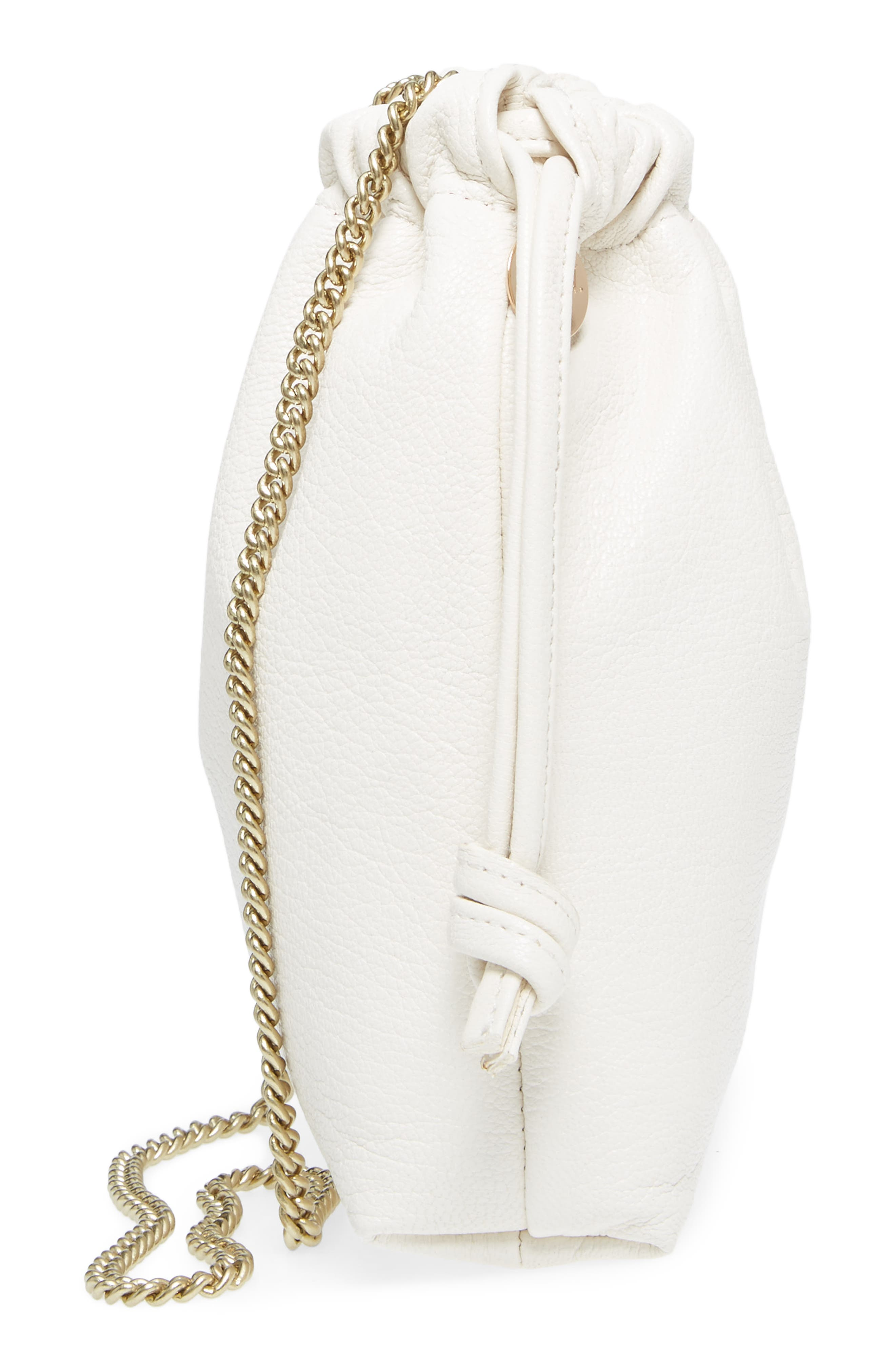 Leather Drawstring Wristlet Pouch,                             Alternate thumbnail 5, color,                             Cream Goat