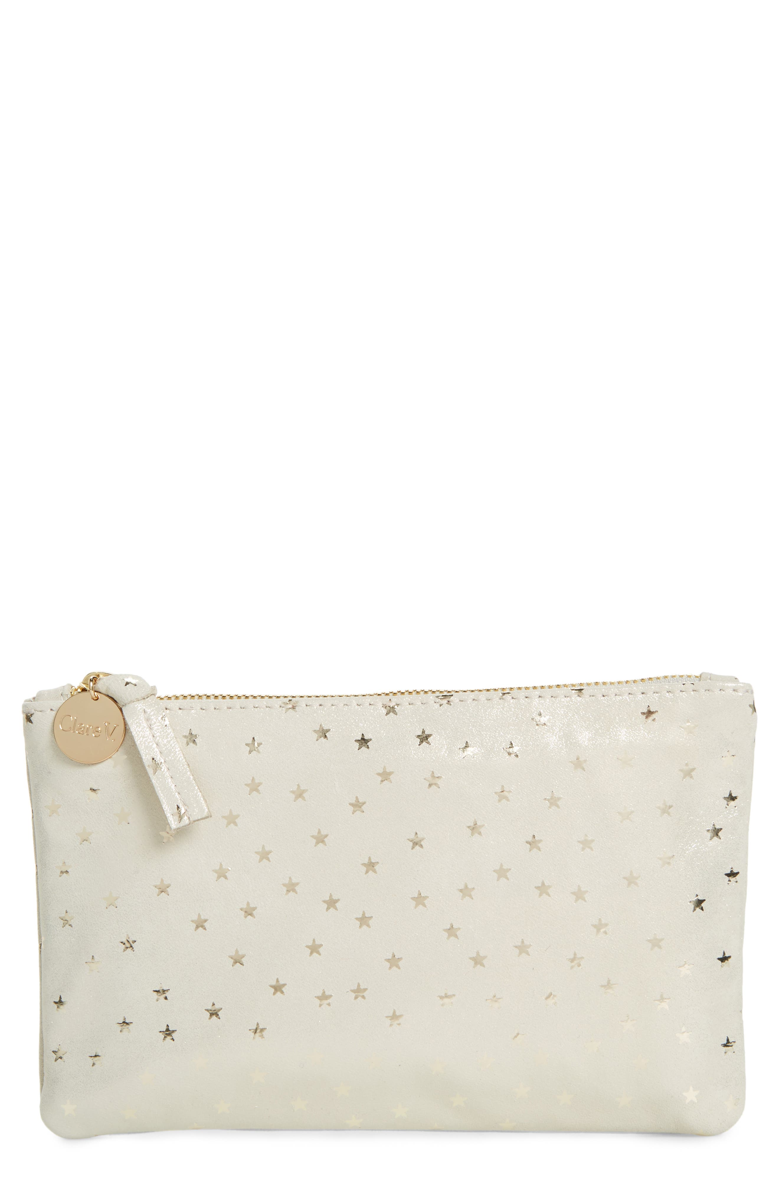 Supreme Star Shimmer Suede Wallet Clutch,                             Main thumbnail 1, color,                             Shimmer Stars