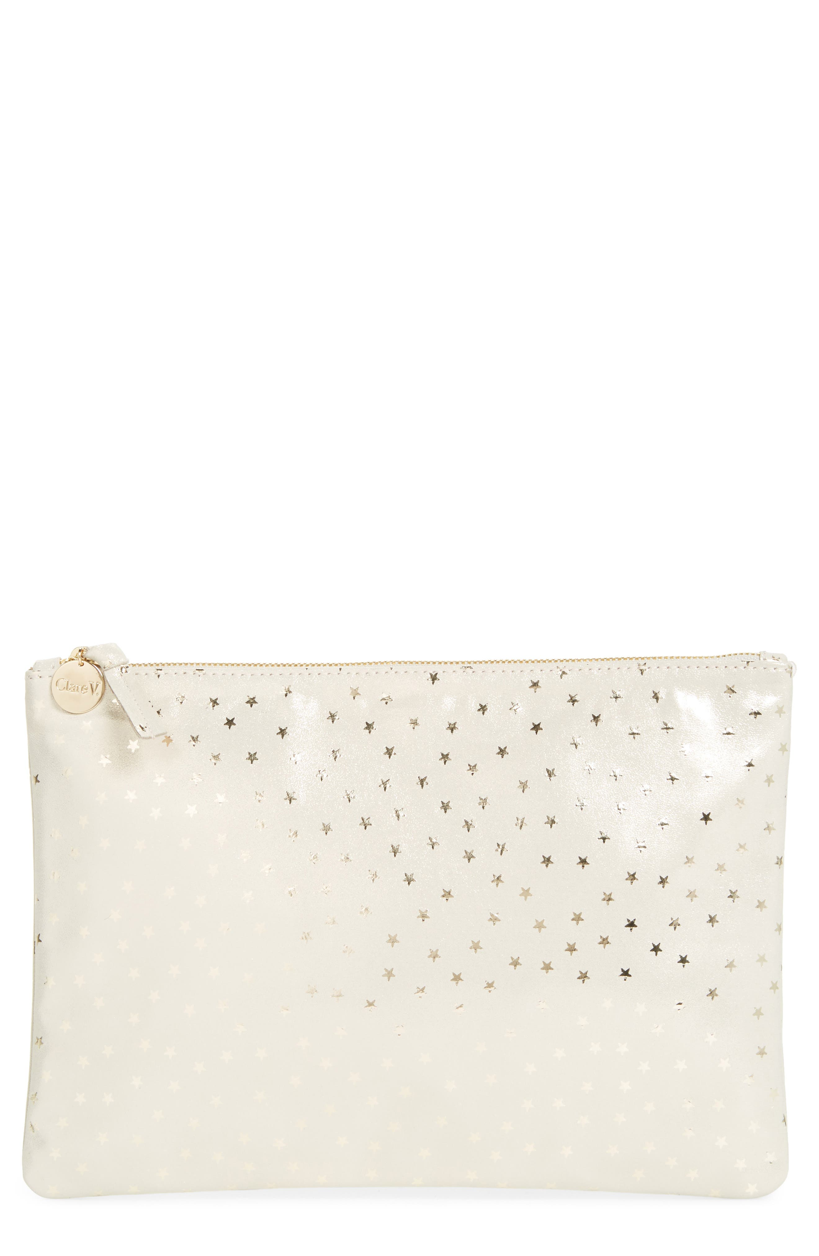 Star Shimmer Suede Flat Clutch,                         Main,                         color, Shimmer Stars