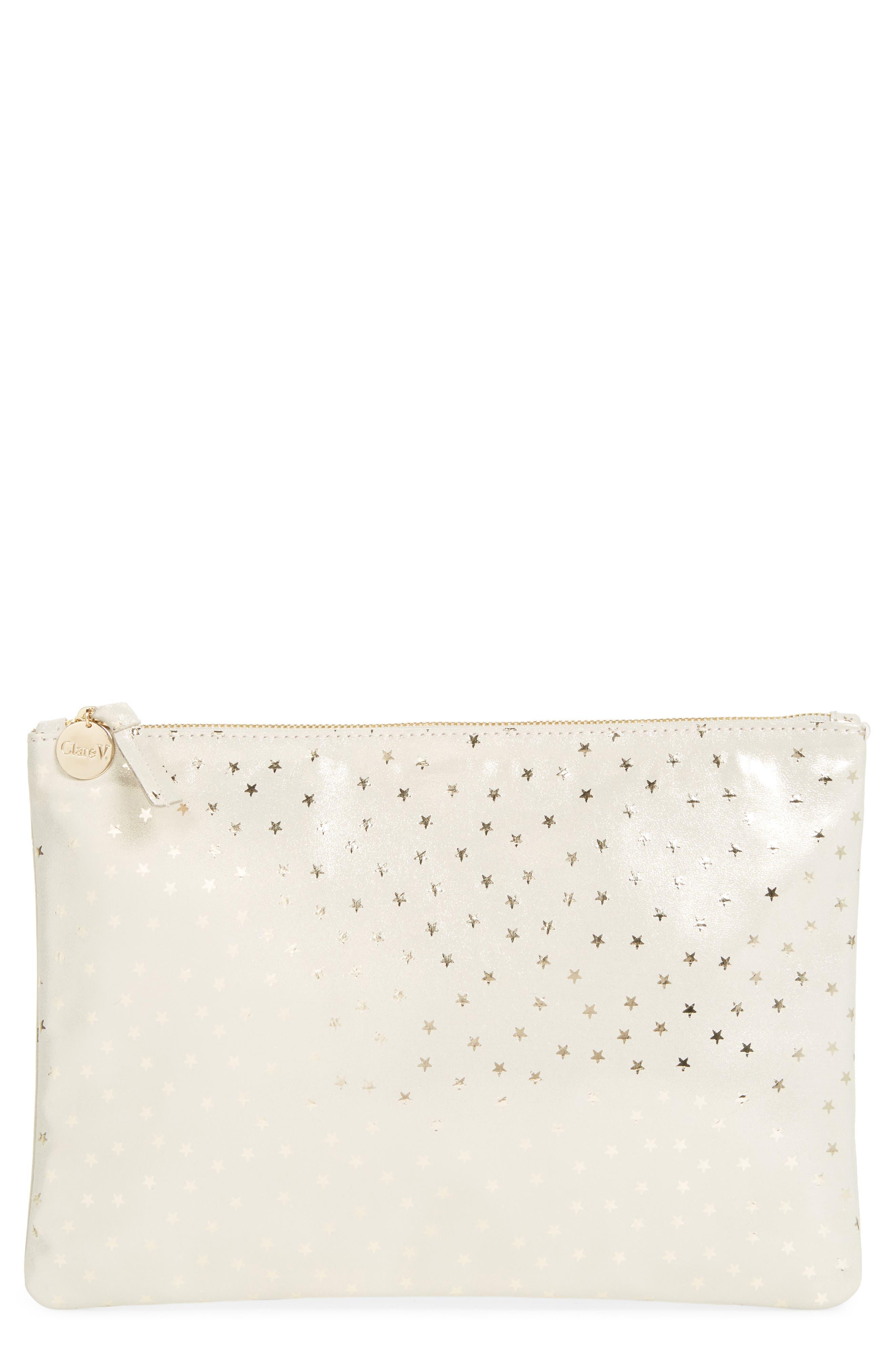 Clare V. Star Shimmer Suede Flat Clutch