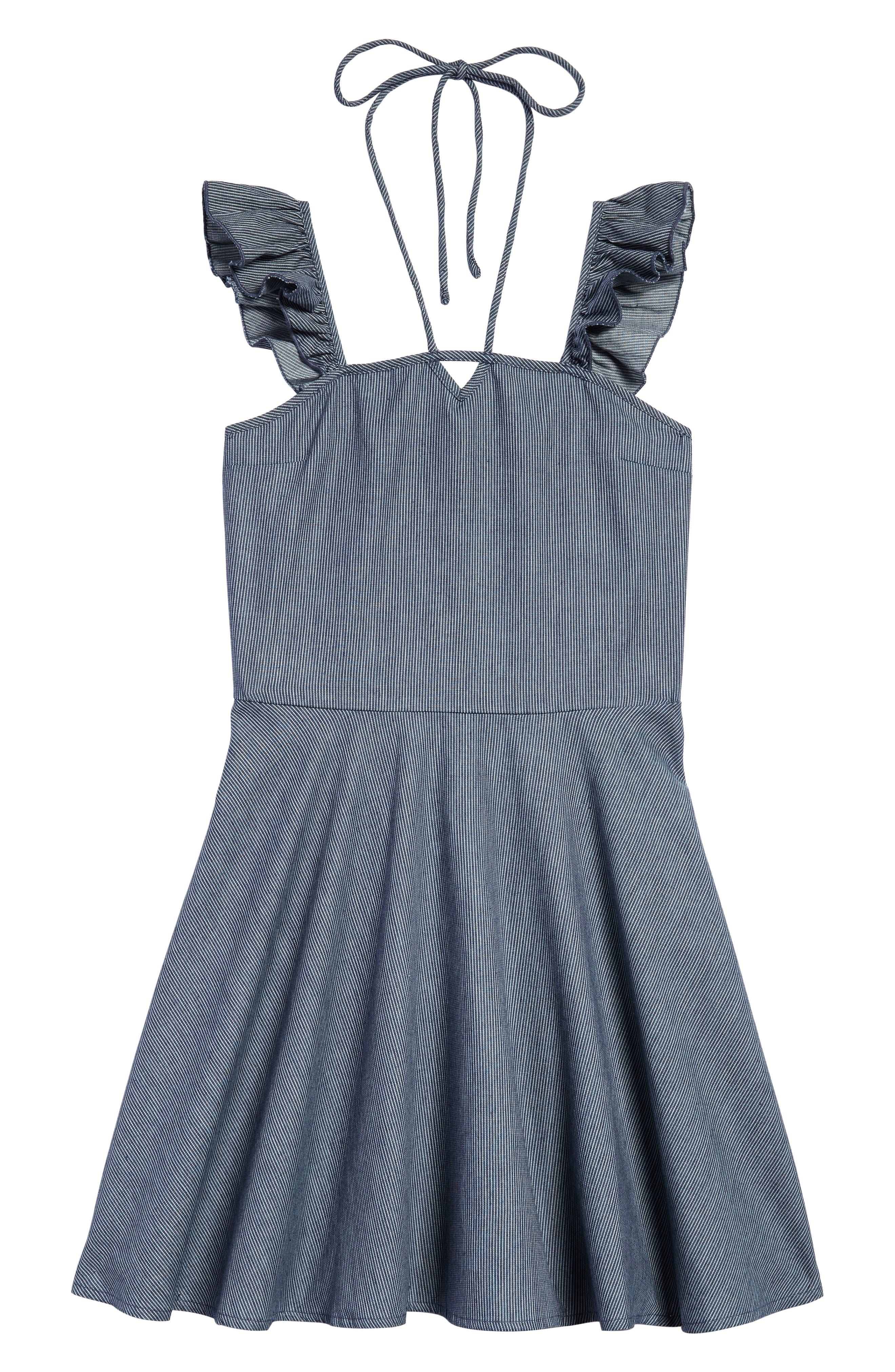 Alternate Image 1 Selected - Miss Behave Ruffle Shoulder Dress (Big Girls)