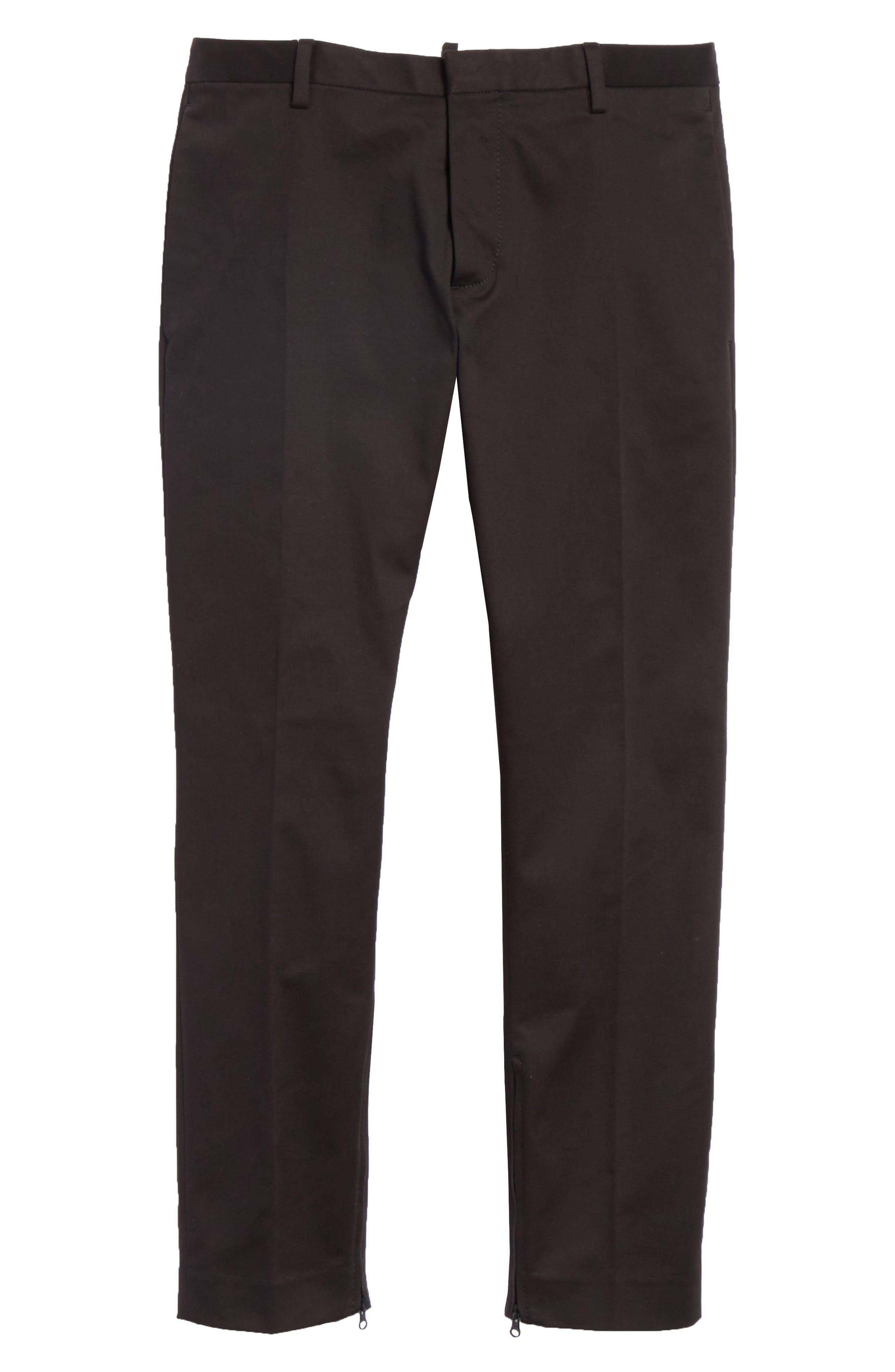 Dan Skinny Fit Cropped Trousers,                             Alternate thumbnail 6, color,                             Black