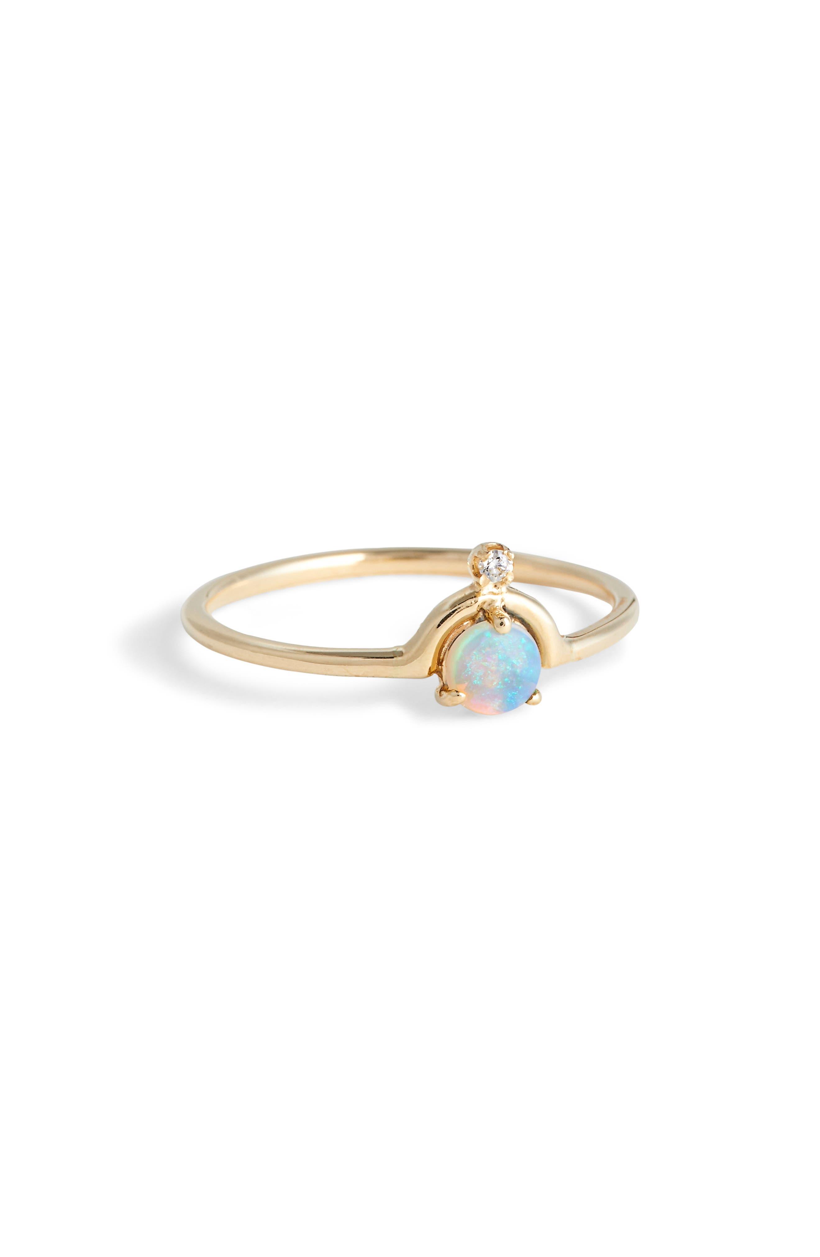 WWAKE Nestled Opal & Diamond Ring in Yellow Gold