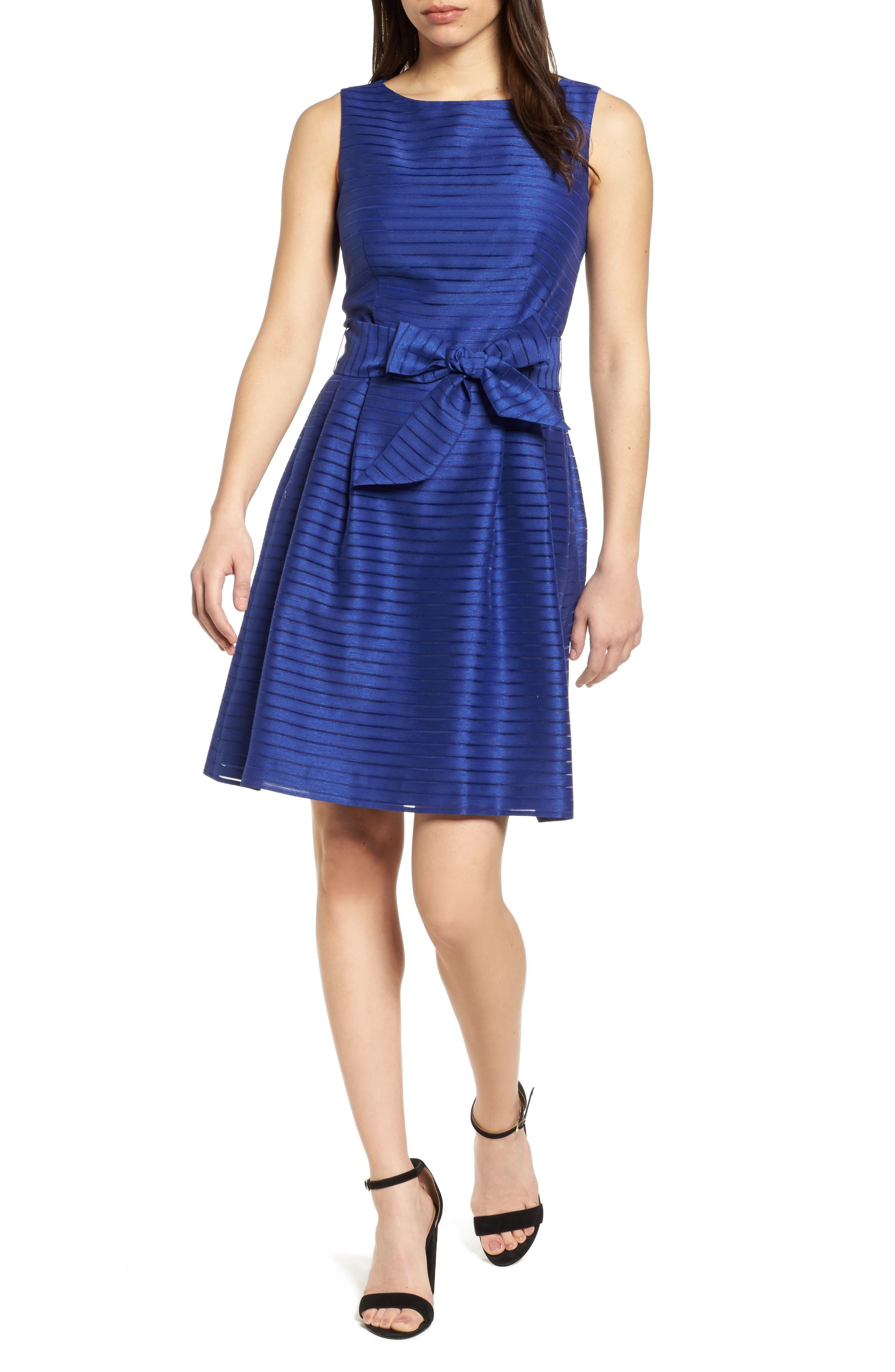 Shadow Stripe Fit & Flare Dress,                         Main,                         color, Okeeffe Blue