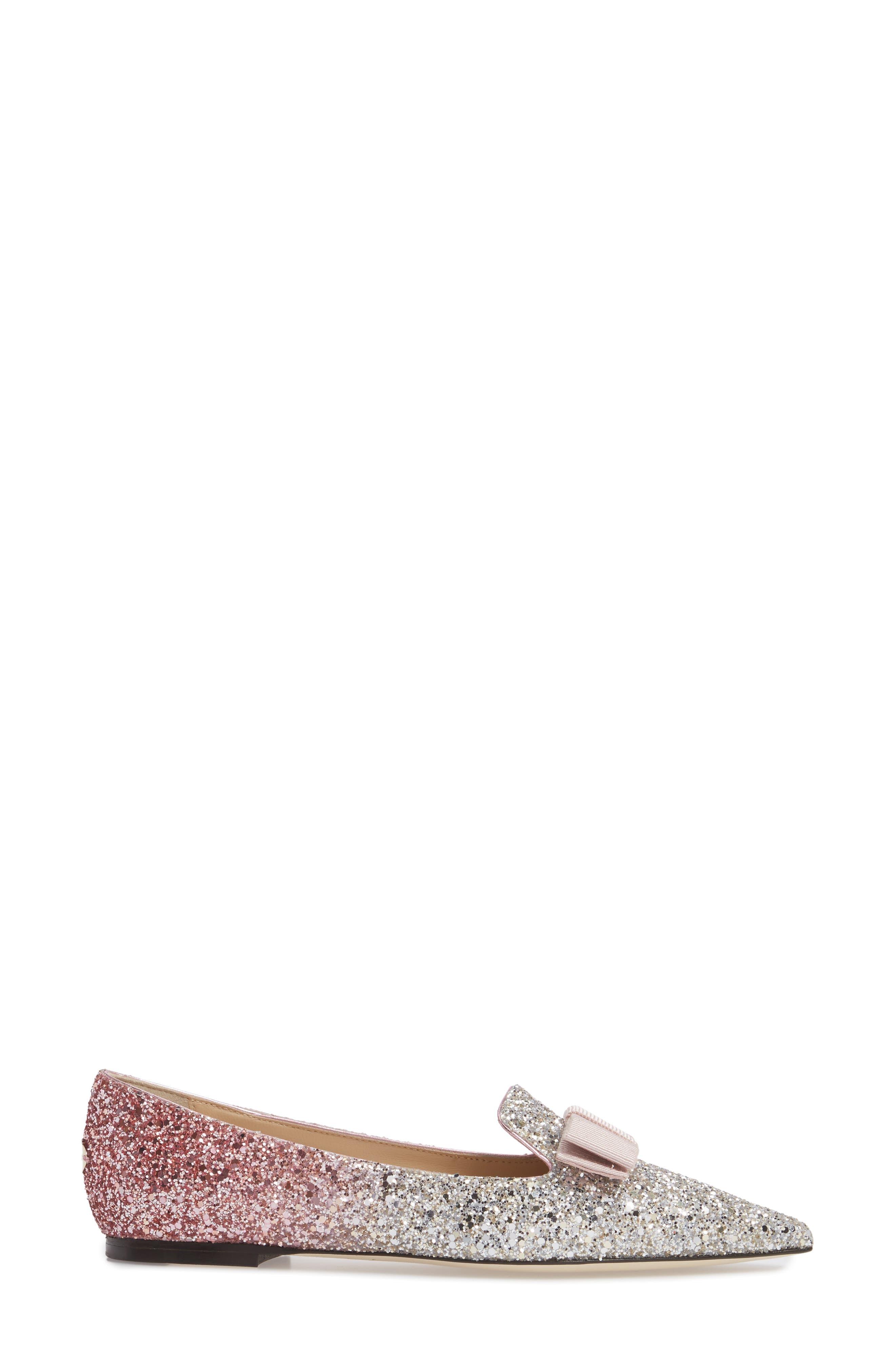 Glitter Bow Flat,                             Alternate thumbnail 3, color,                             Flamingo Pink
