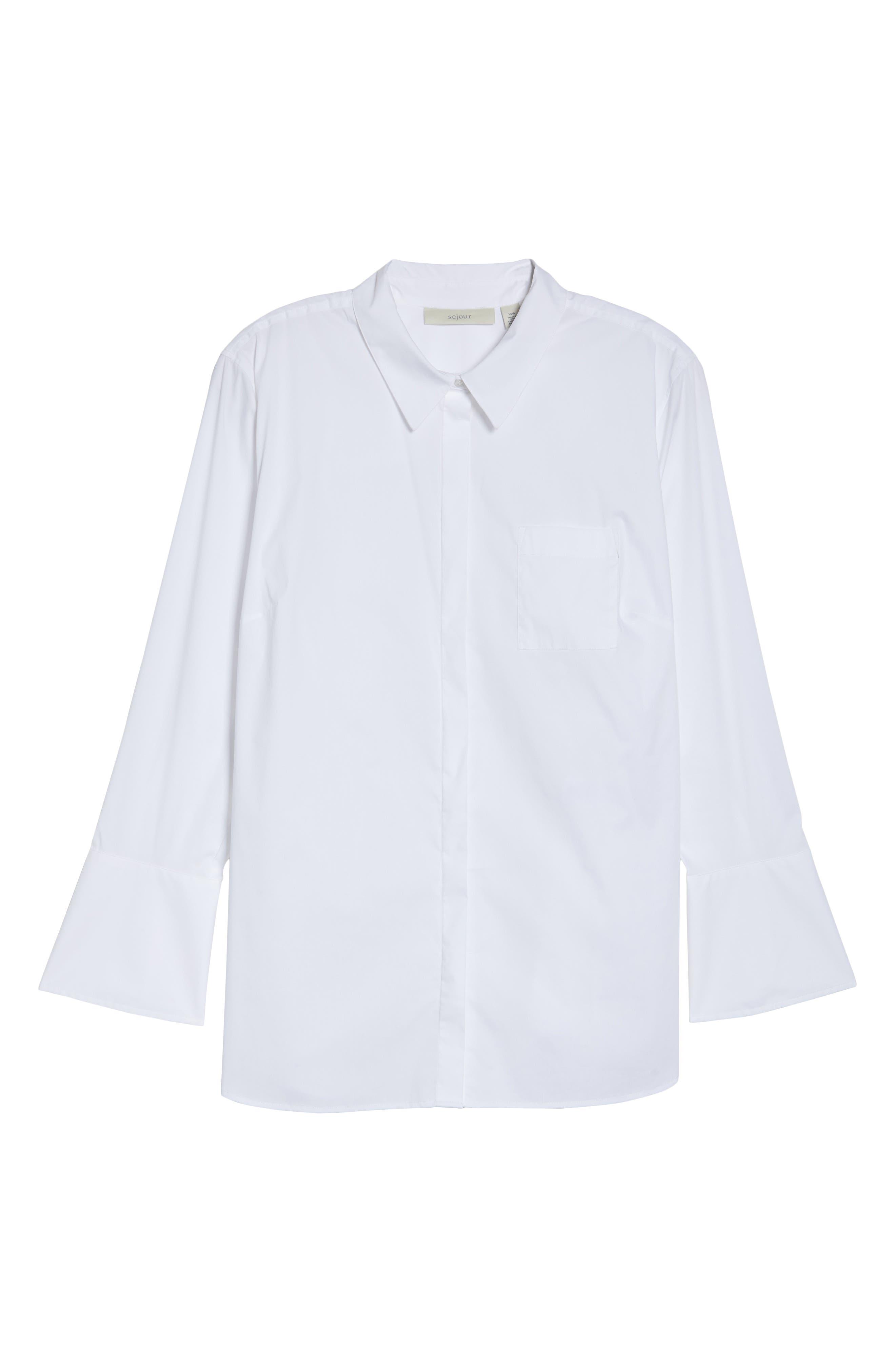 Tunic Button Down Shirt,                             Alternate thumbnail 6, color,                             White