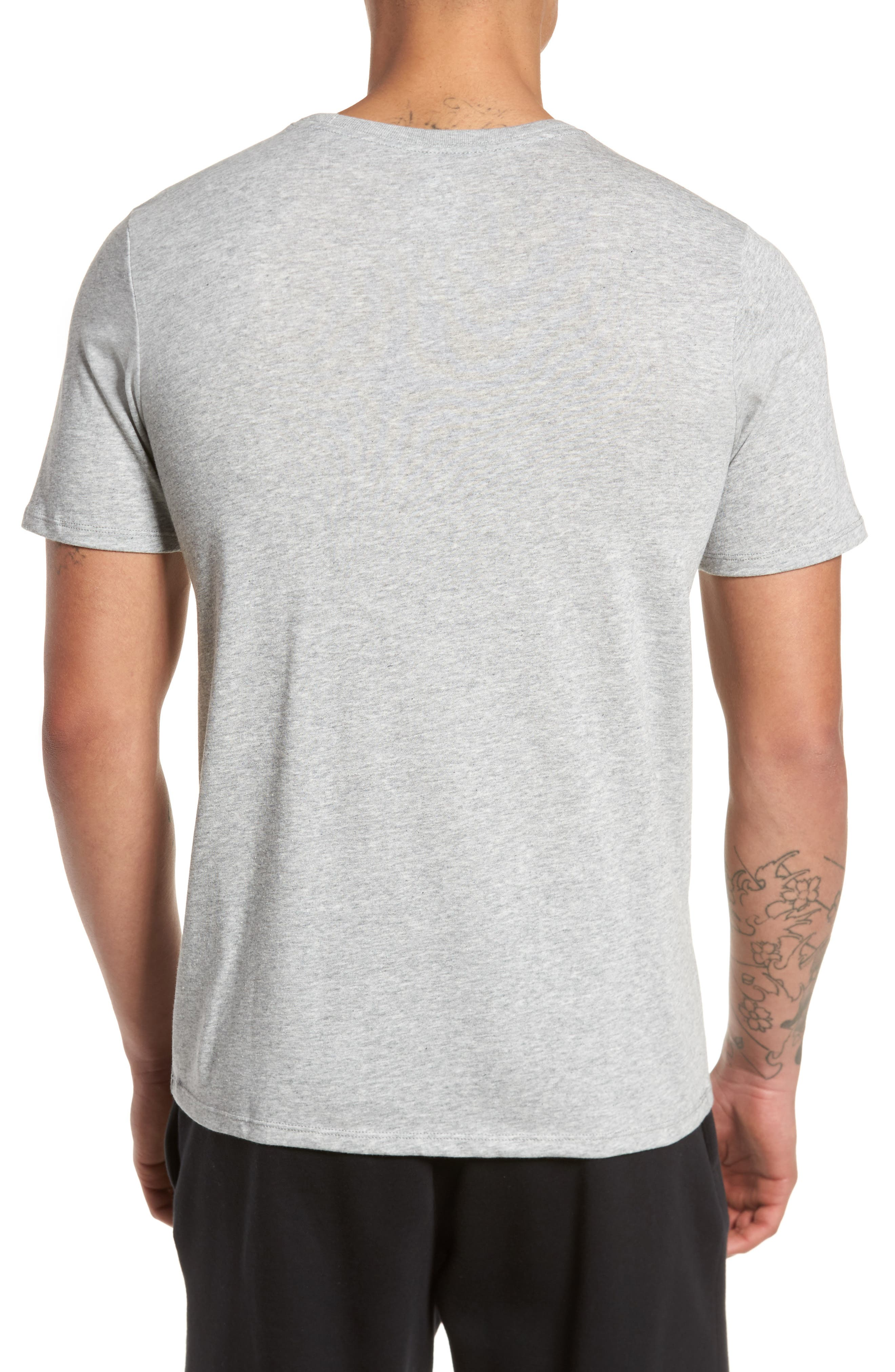 Dry Swooshie Crewneck T-Shirt,                             Alternate thumbnail 2, color,                             Dark Grey Heather/ Black