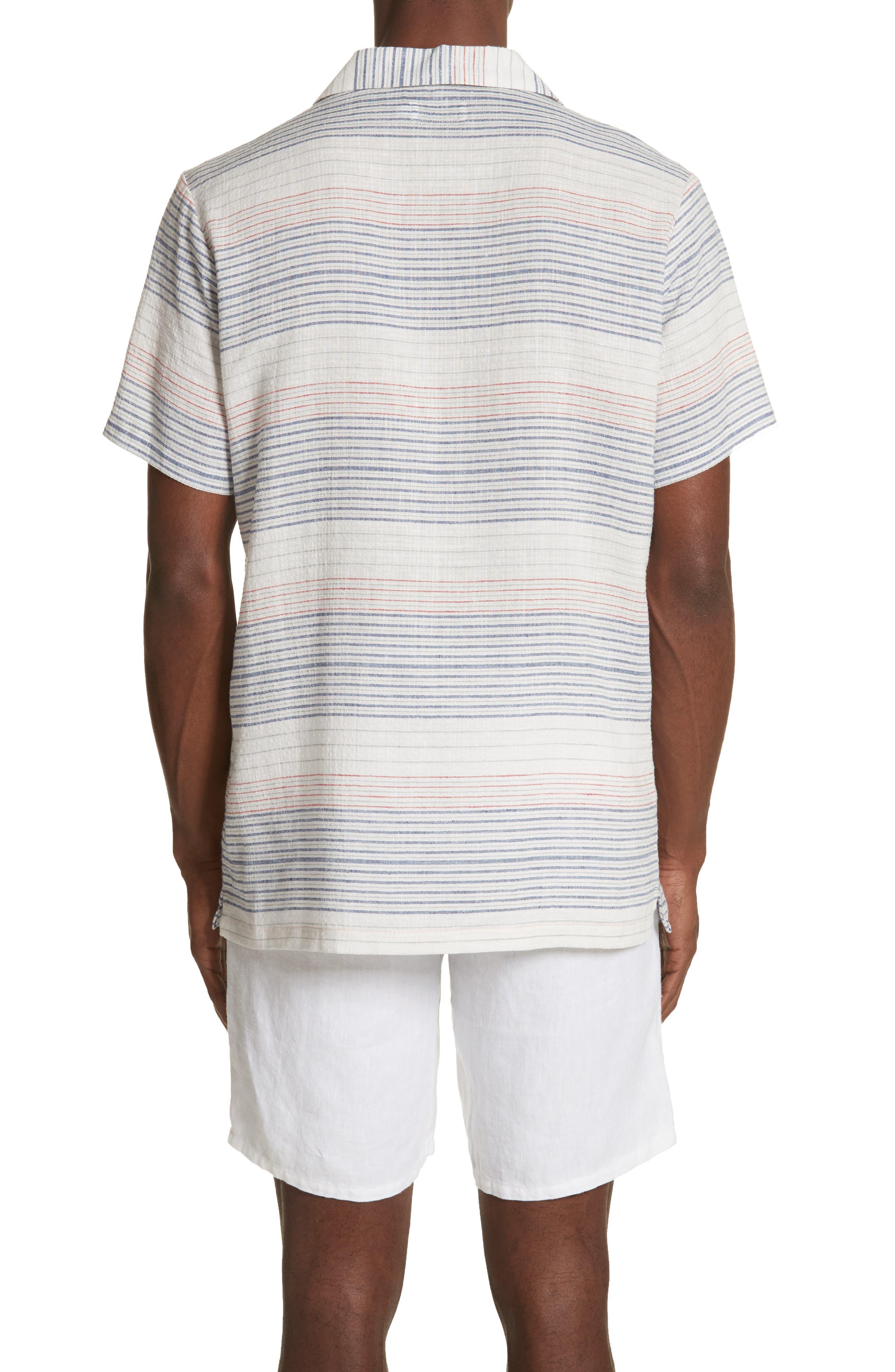 Americana Stripe Woven Camp Shirt,                             Alternate thumbnail 2, color,                             Multi