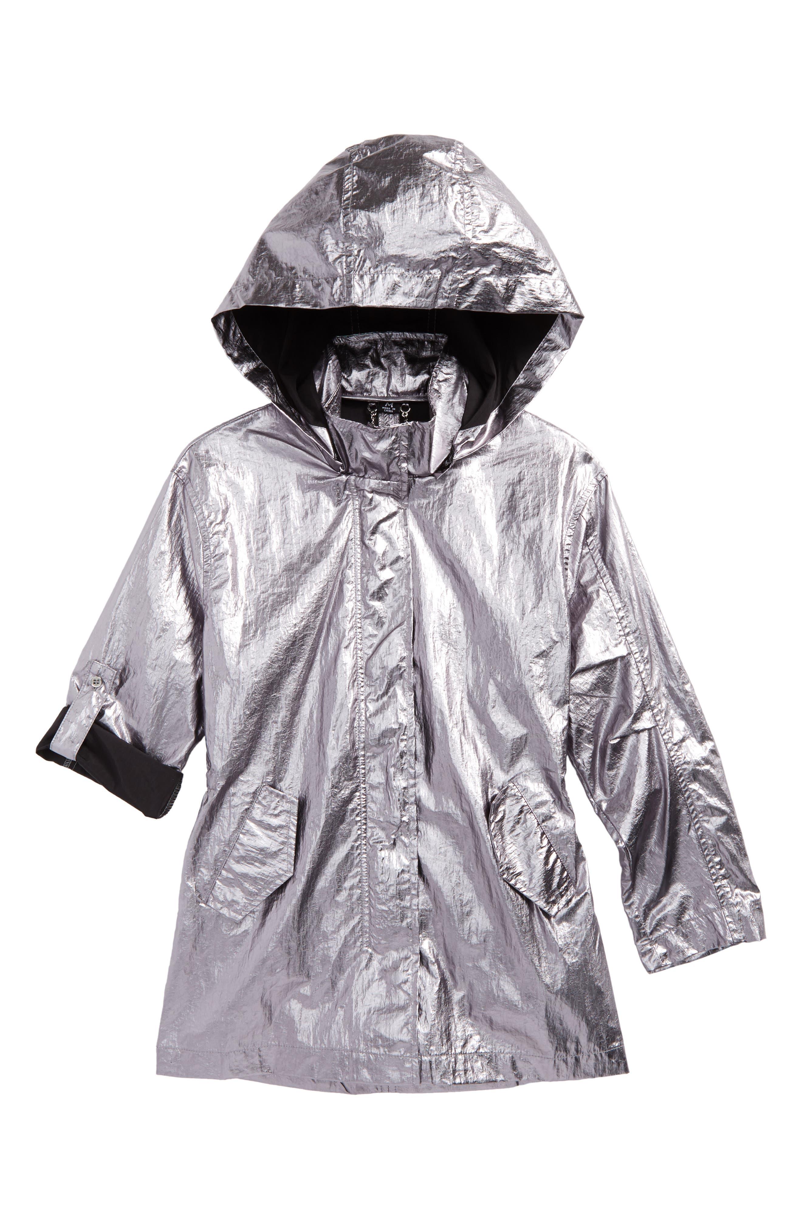 Metallic Rain Jacket,                         Main,                         color, Silver
