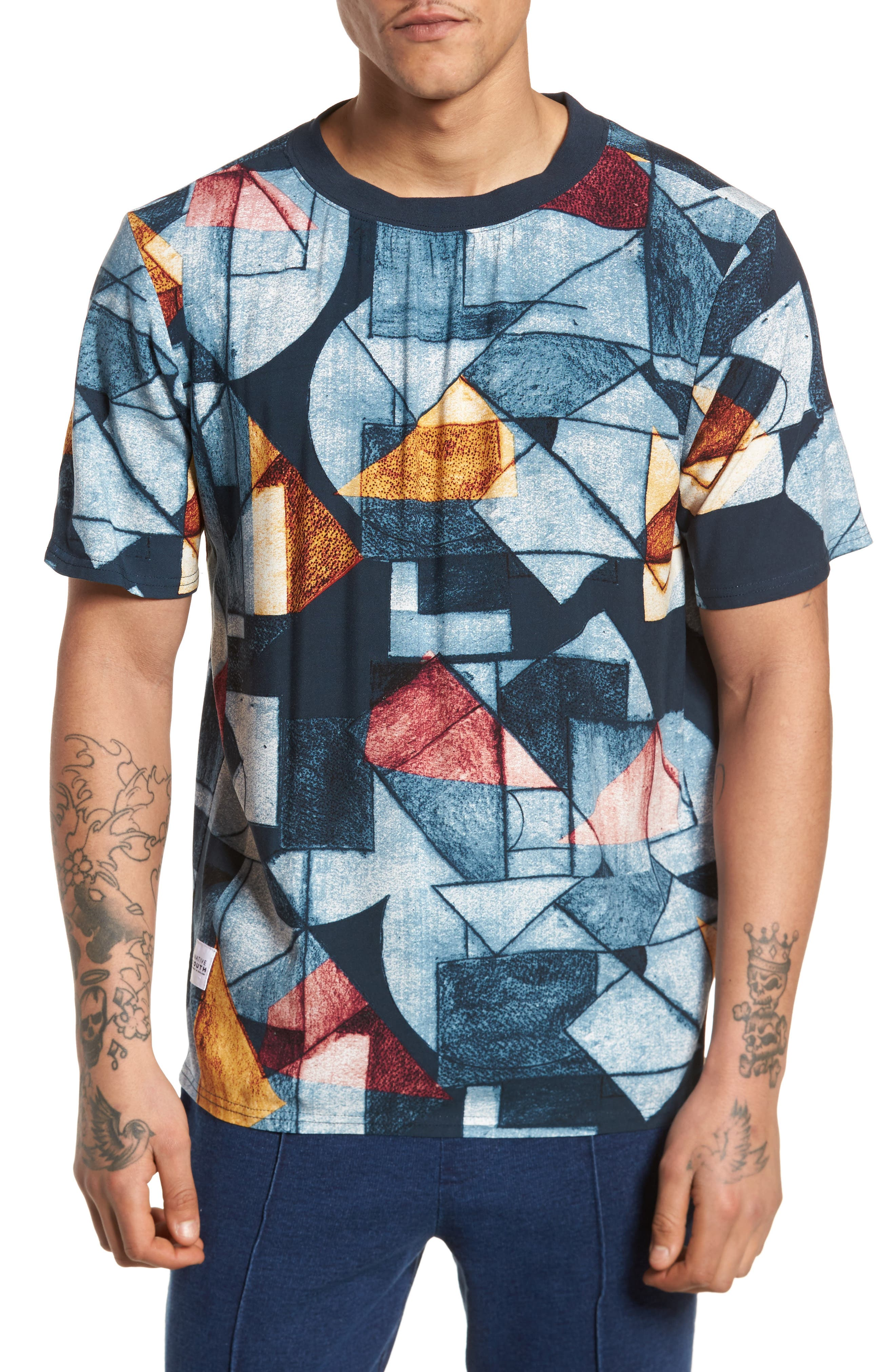 Olio Etch Woven T-Shirt,                         Main,                         color, Indigo