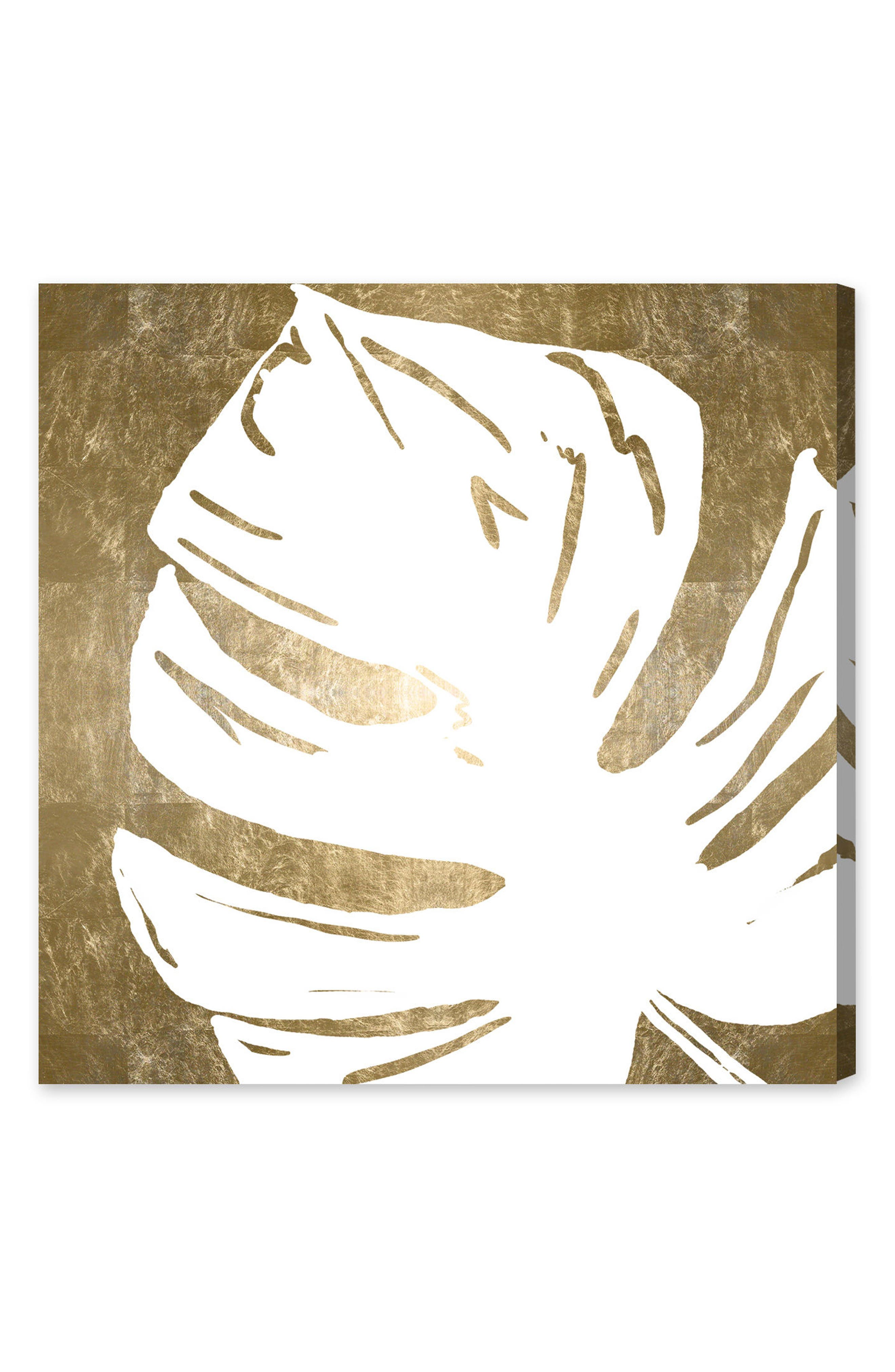 Tropical Leaves Square III Canvas Wall Art,                         Main,                         color, White
