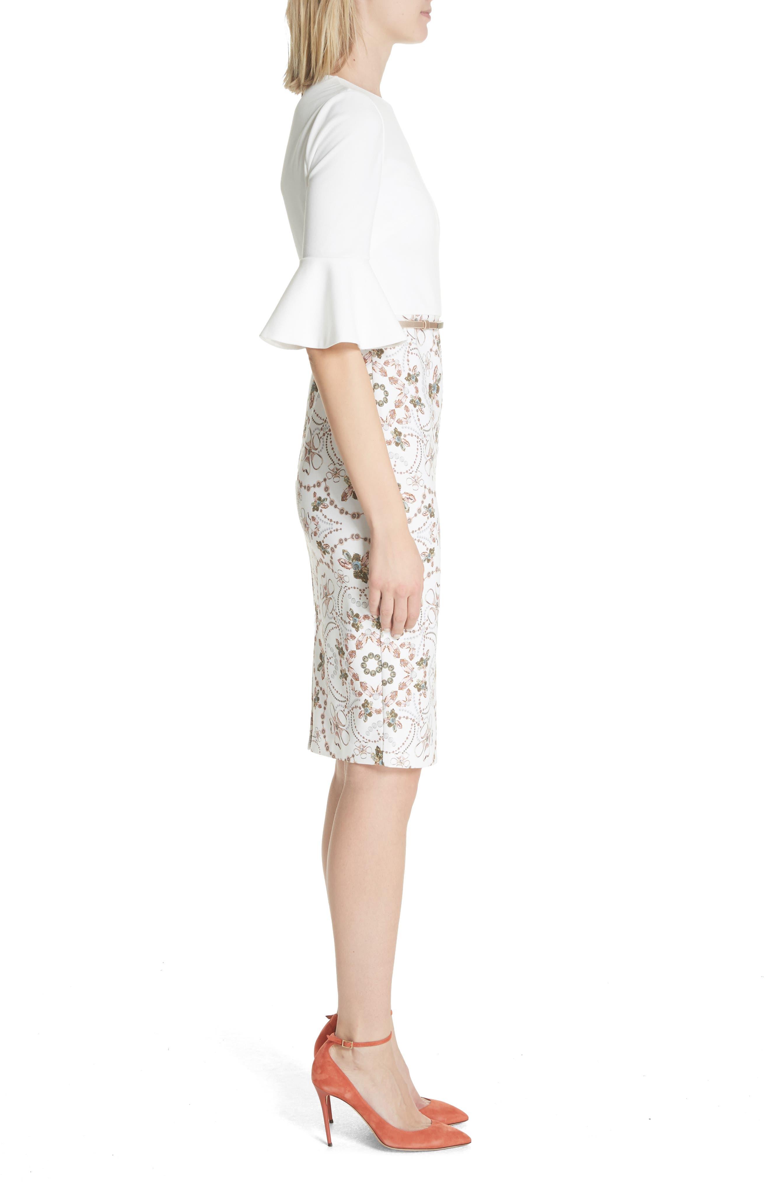 Majestic Contrast Sheath Dress,                             Alternate thumbnail 3, color,                             Ivory