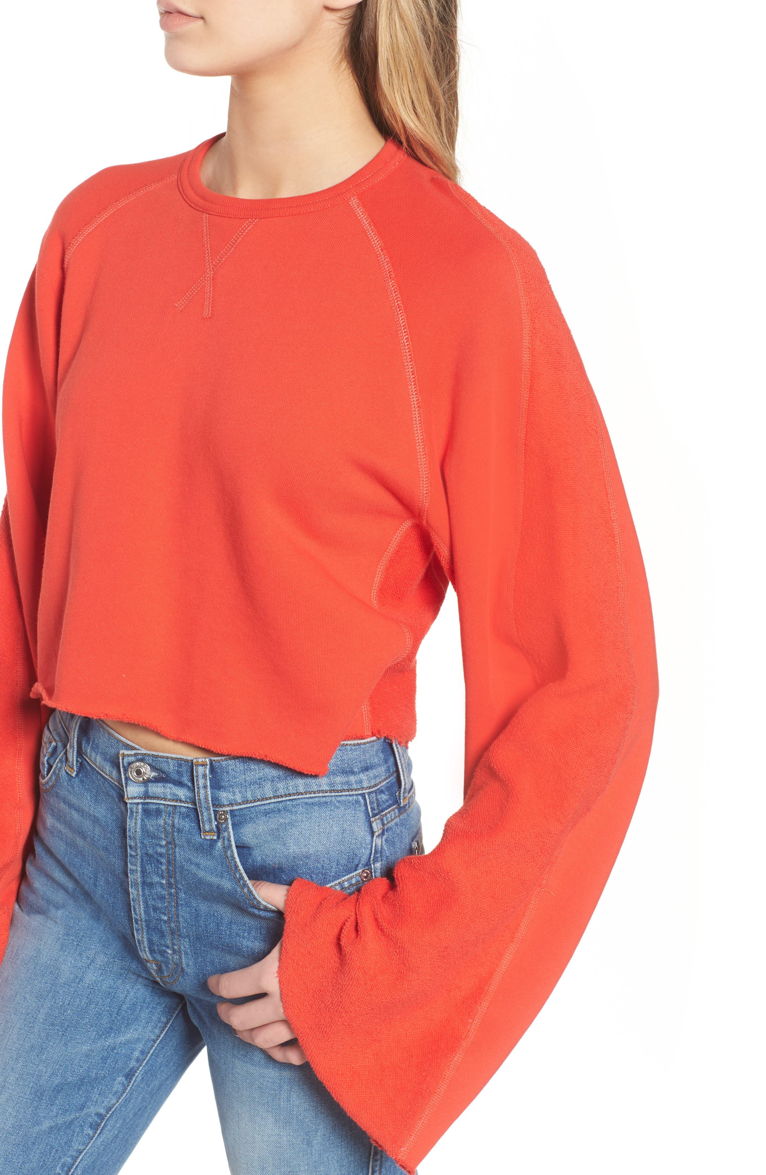 Alternate Image 4  - 7 For All Mankind® Flare Sleeve Crop Sweatshirt