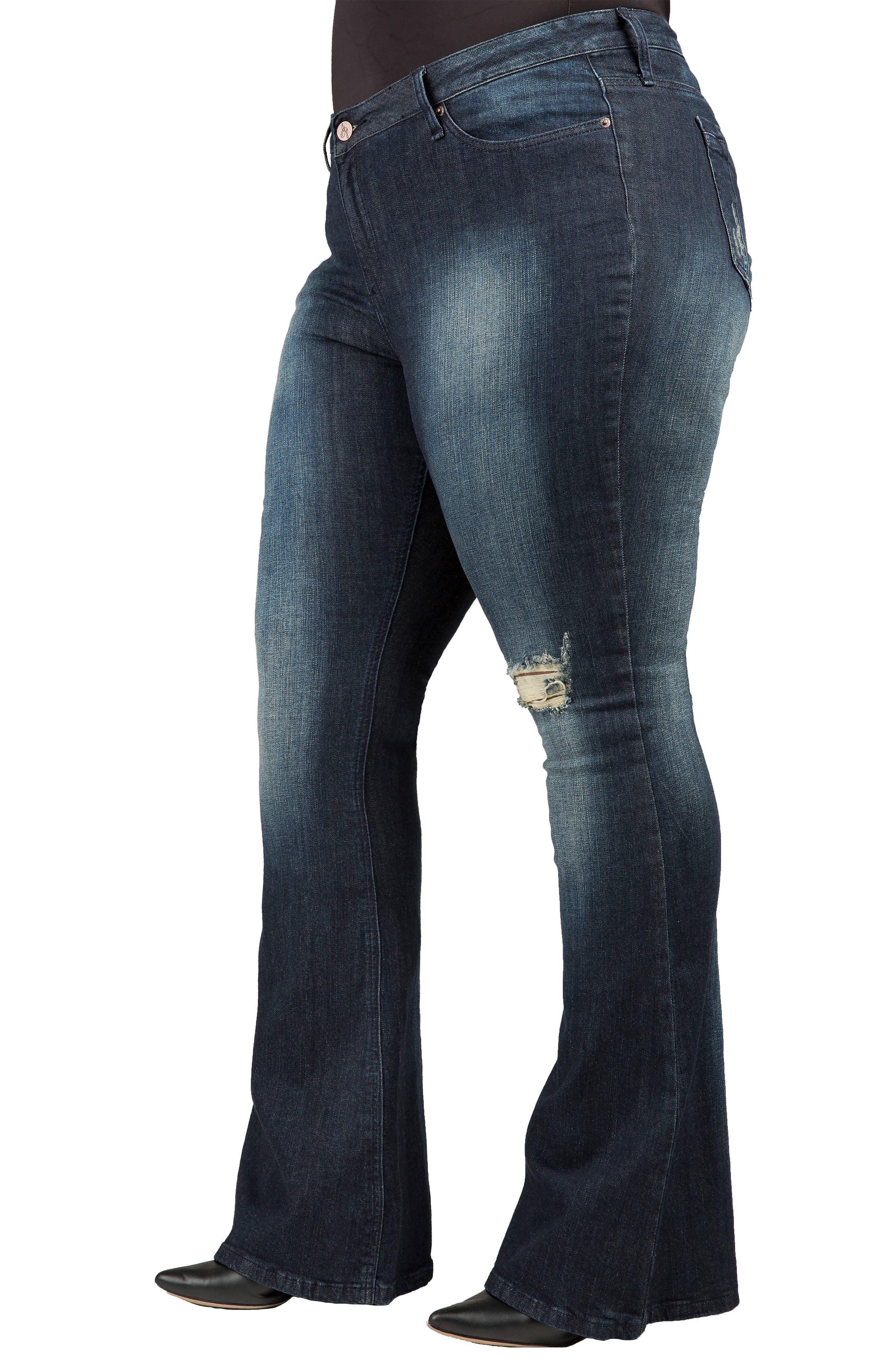Kylie Curvy Fit Flare Leg Jeans,                             Alternate thumbnail 3, color,                             2942 Unforgiven Dark Blue