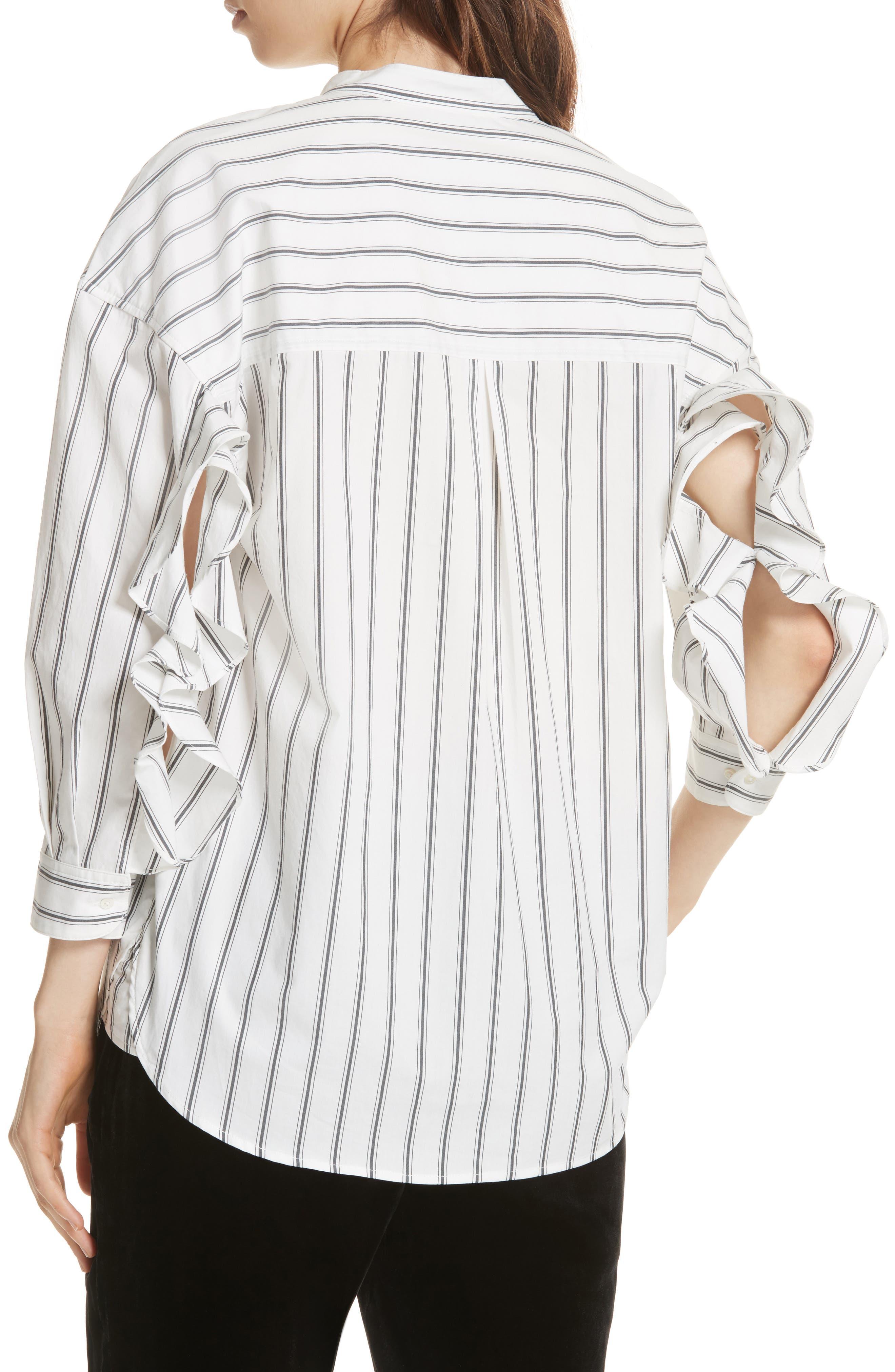 Poni Stripe Shirt,                             Alternate thumbnail 3, color,                             Porcelain