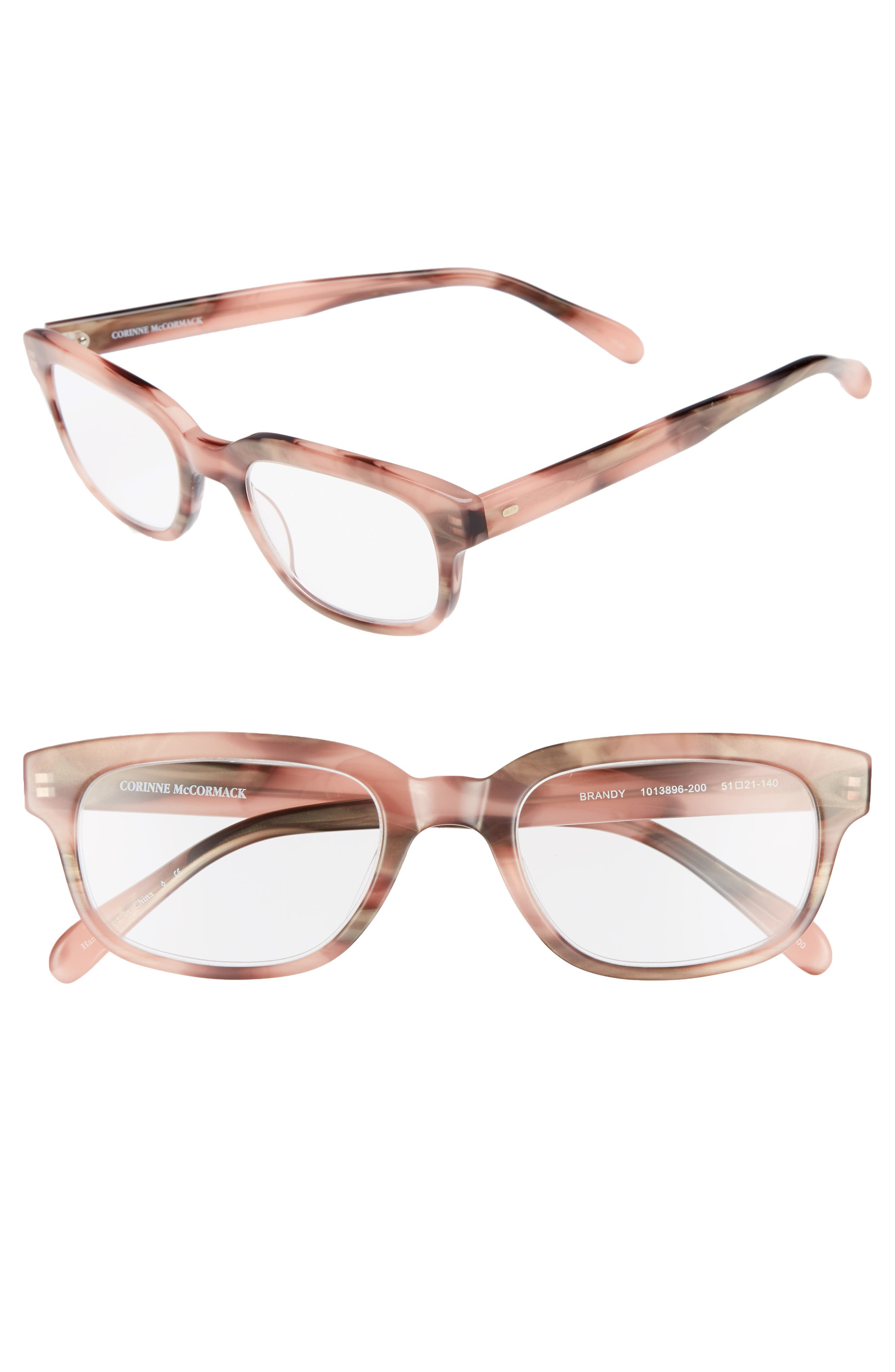 Corrine McCormack Brandy 51mm Reading Glasses,                         Main,                         color, Pink