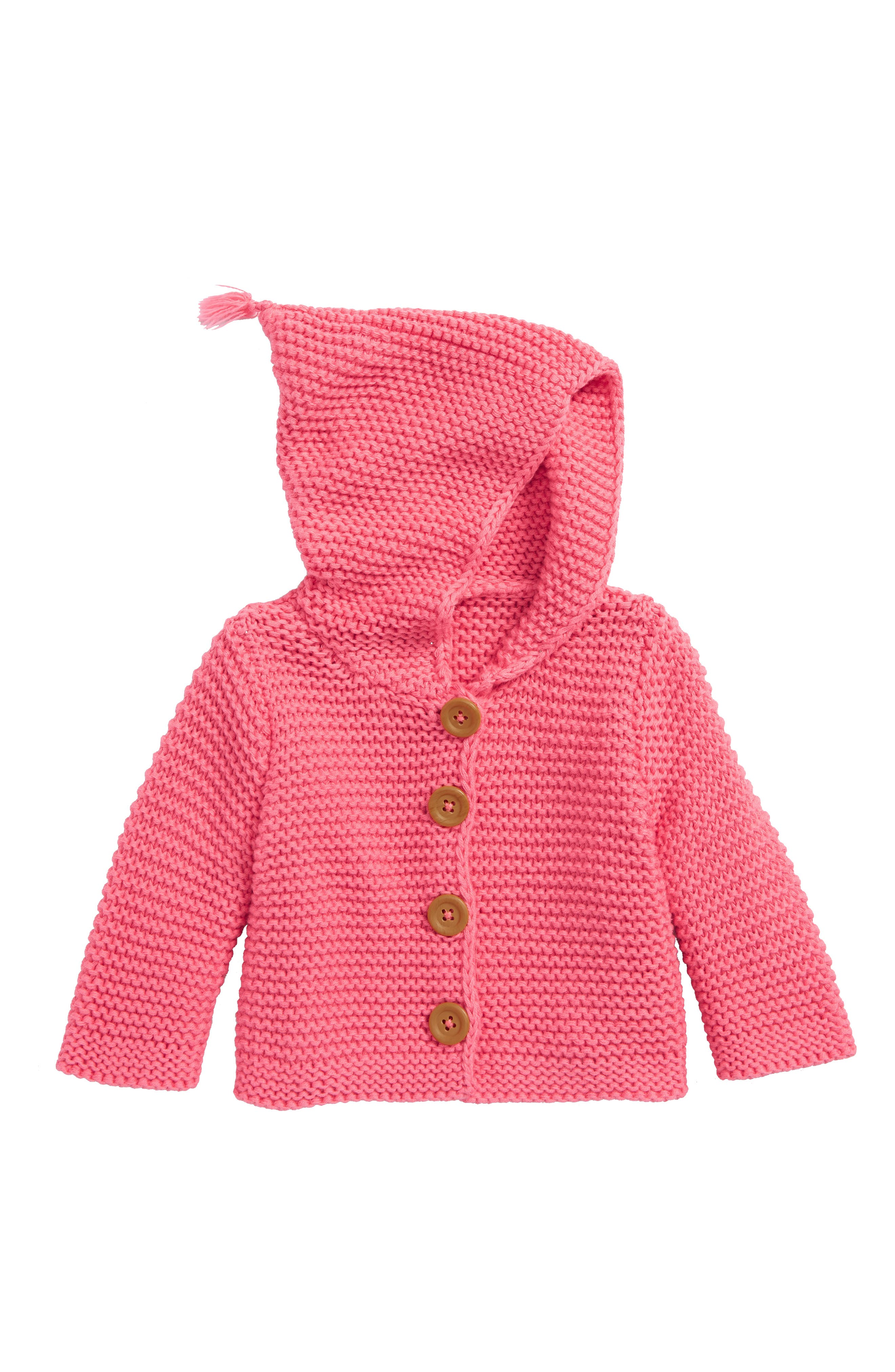 Lofty Organic Cotton Hooded Cardigan,                         Main,                         color, Pink Lemonade