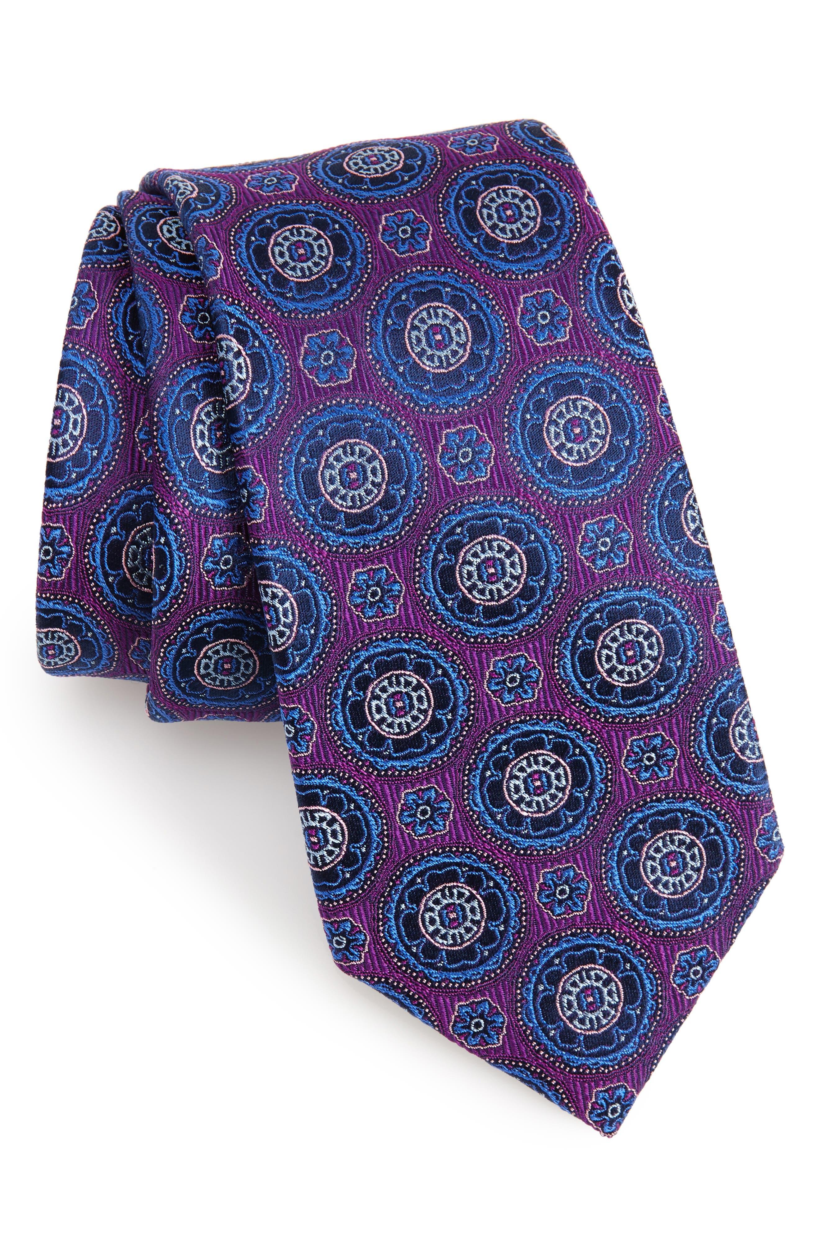 Kensington Medallion Silk Tie,                             Main thumbnail 1, color,                             Purple