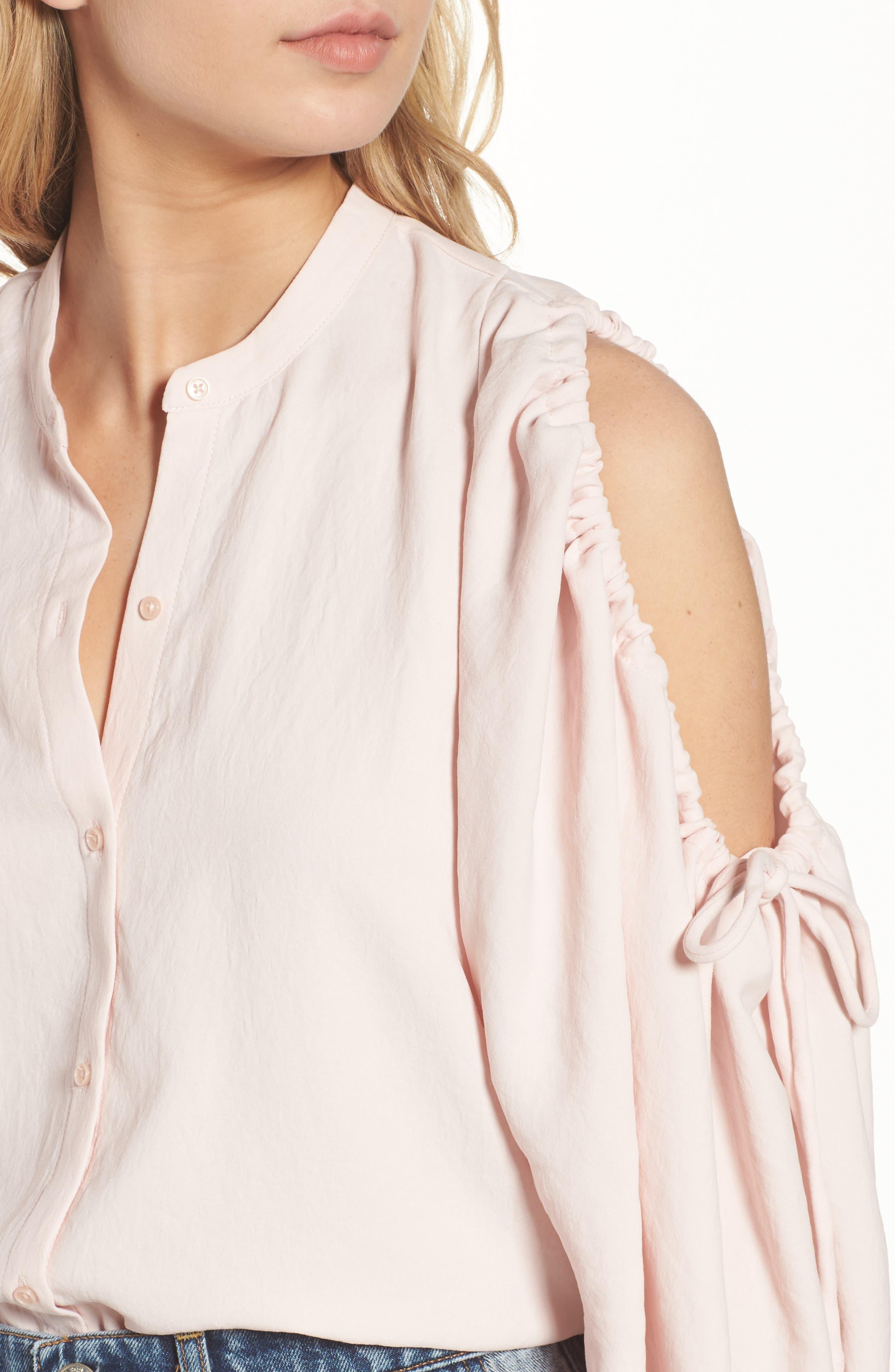Cold Shoulder Top,                             Alternate thumbnail 4, color,                             Pink Sunrise