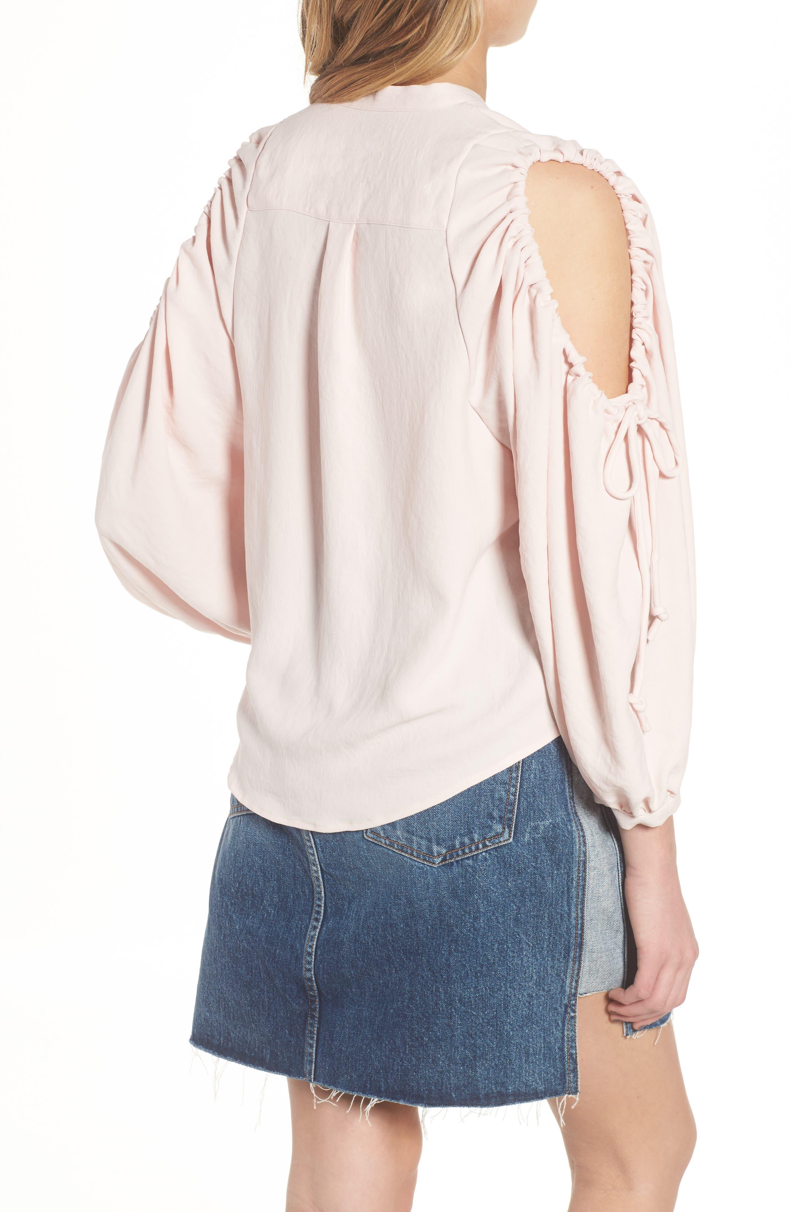 Cold Shoulder Top,                             Alternate thumbnail 2, color,                             Pink Sunrise