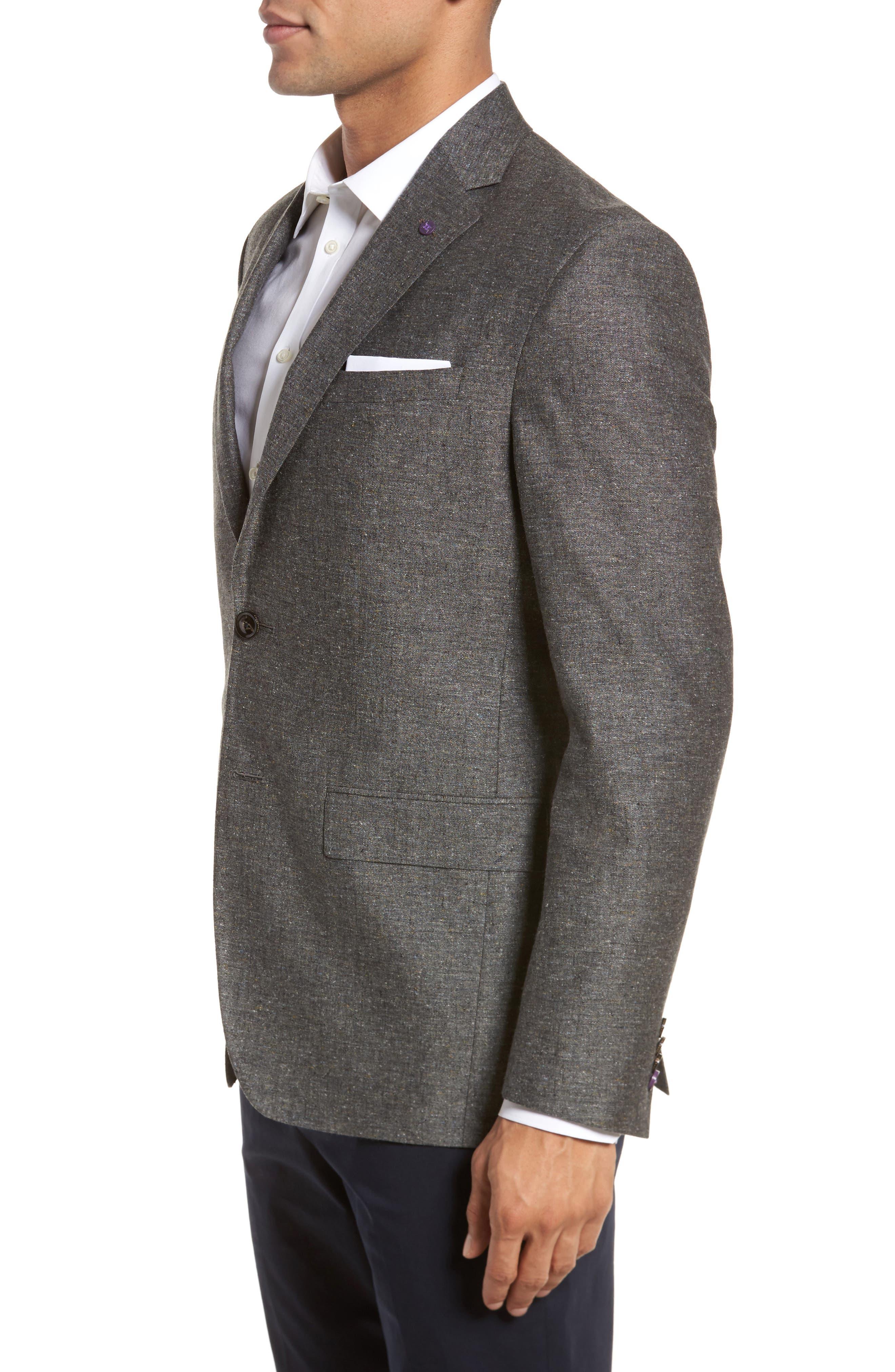 Konan Trim Fit Silk & Linen Blazer,                             Alternate thumbnail 3, color,                             Grey